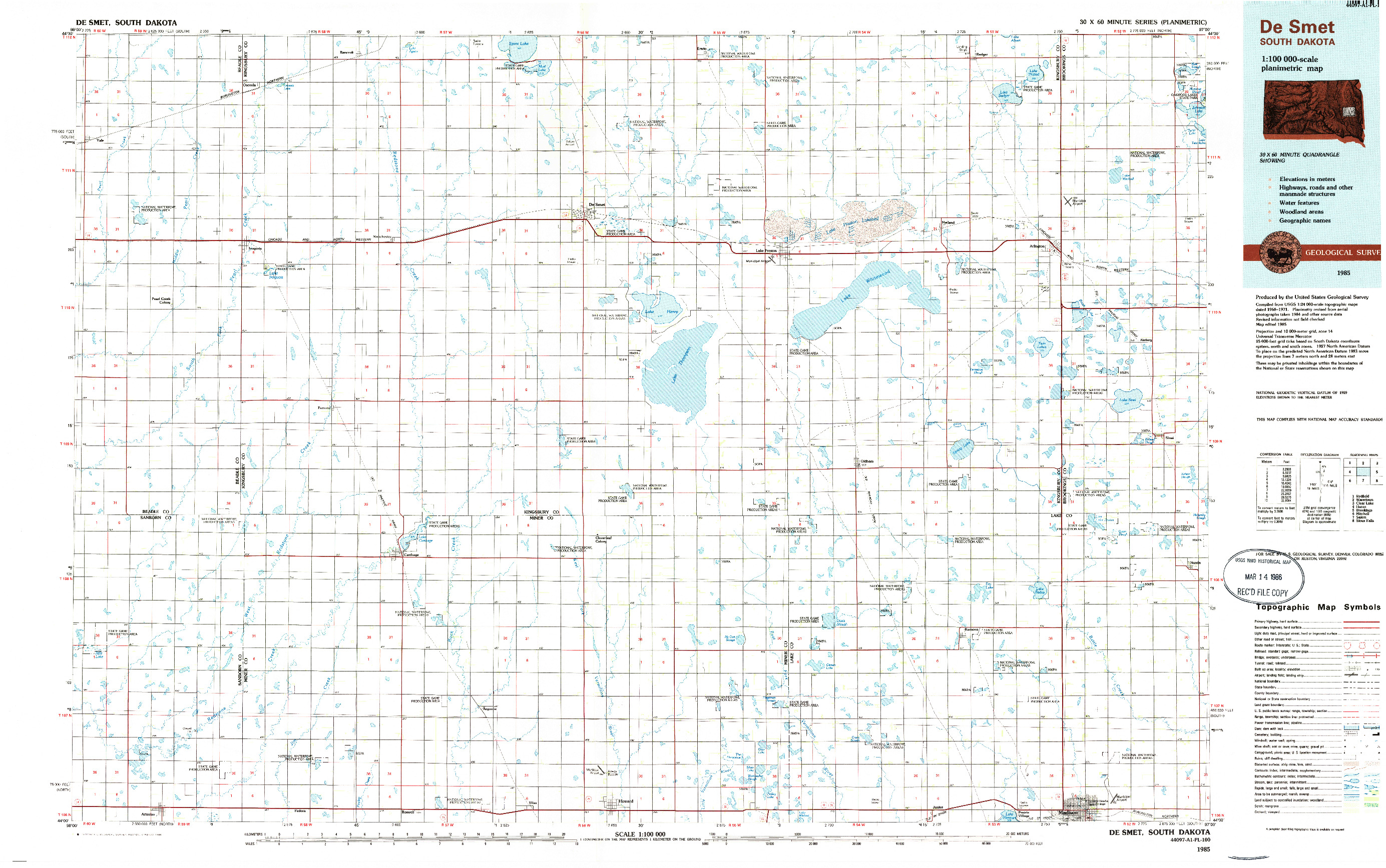 USGS 1:100000-SCALE QUADRANGLE FOR DE SMET, SD 1985