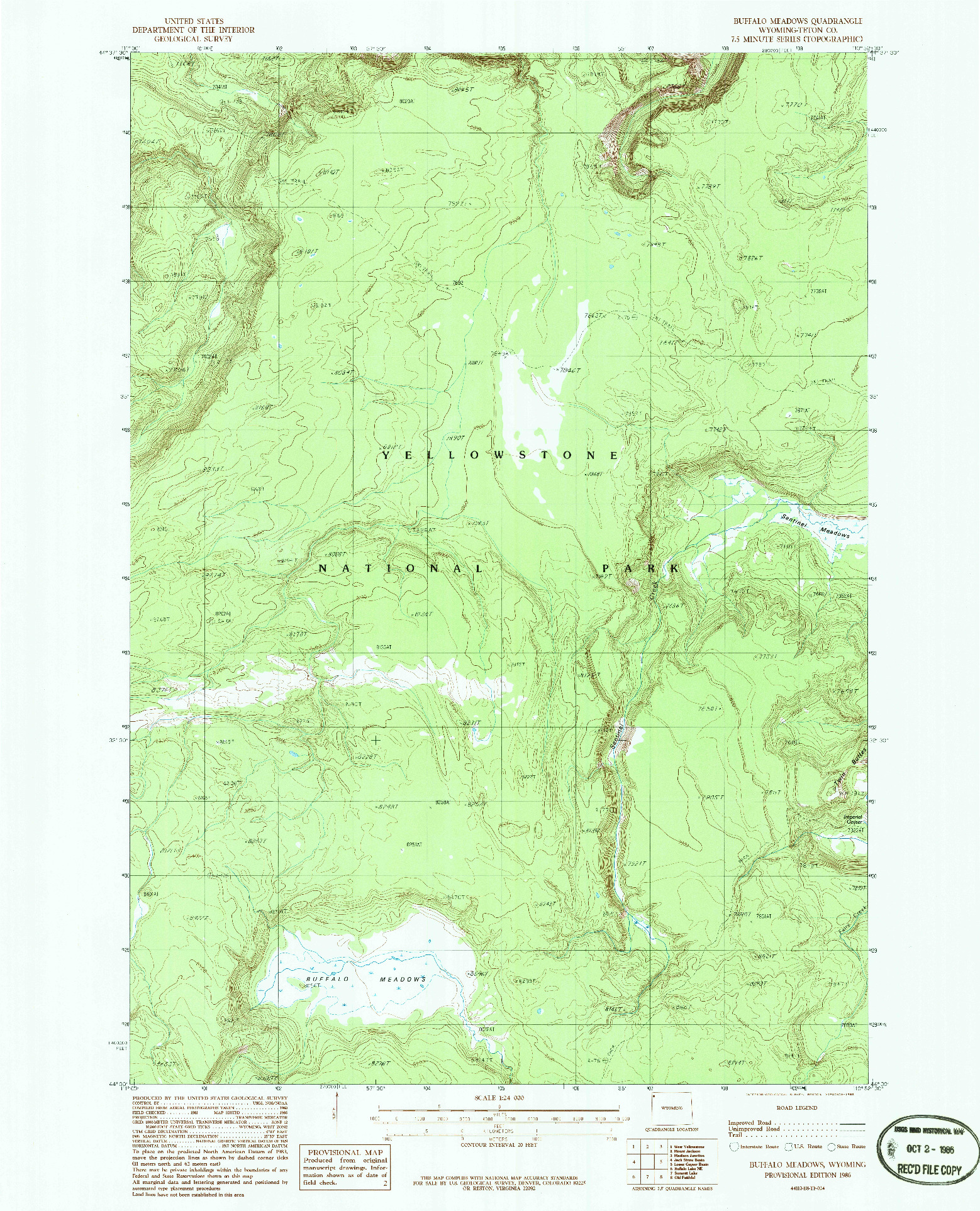 USGS 1:24000-SCALE QUADRANGLE FOR BUFFALO MEADOWS, WY 1986