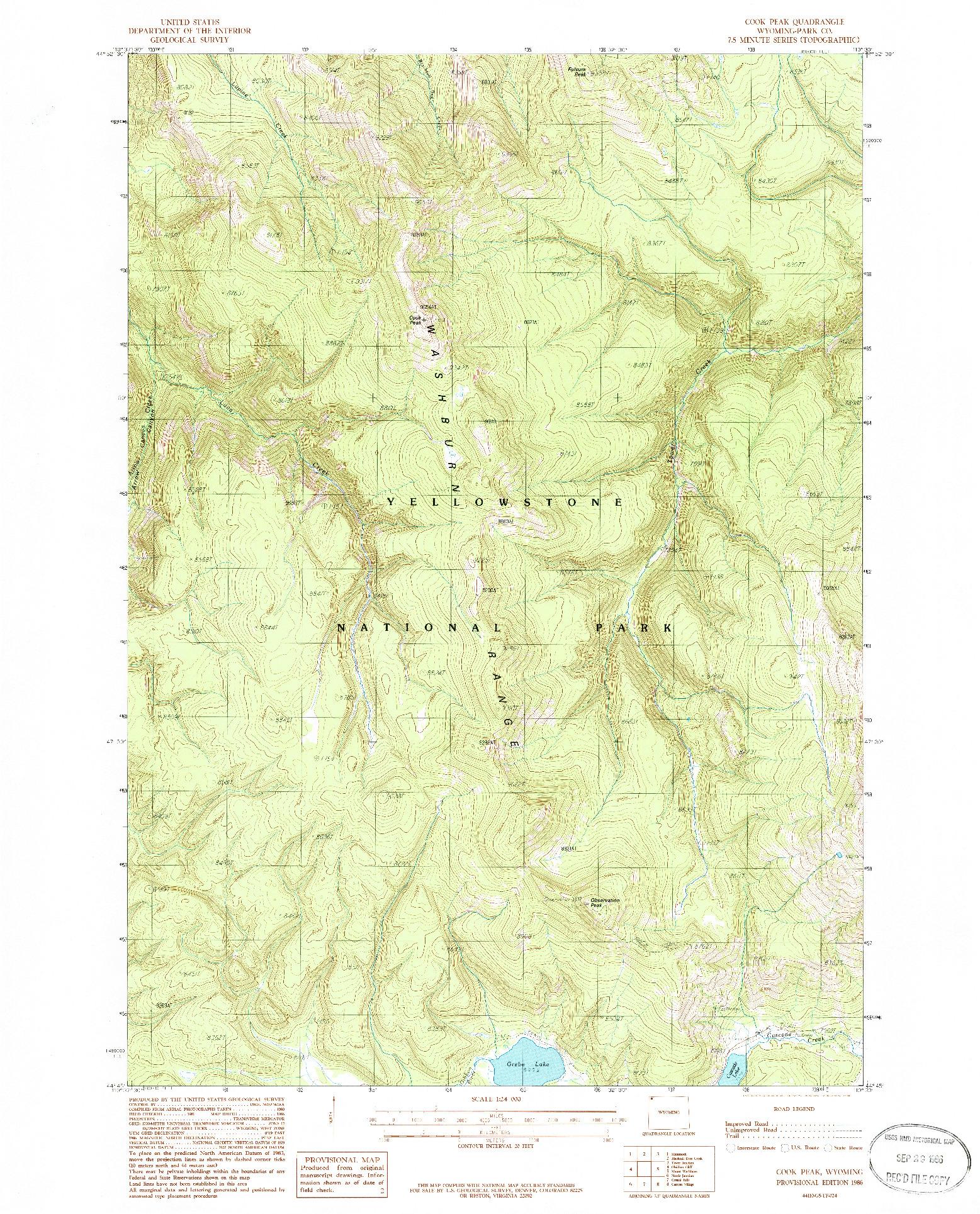 USGS 1:24000-SCALE QUADRANGLE FOR COOK PEAK, WY 1986