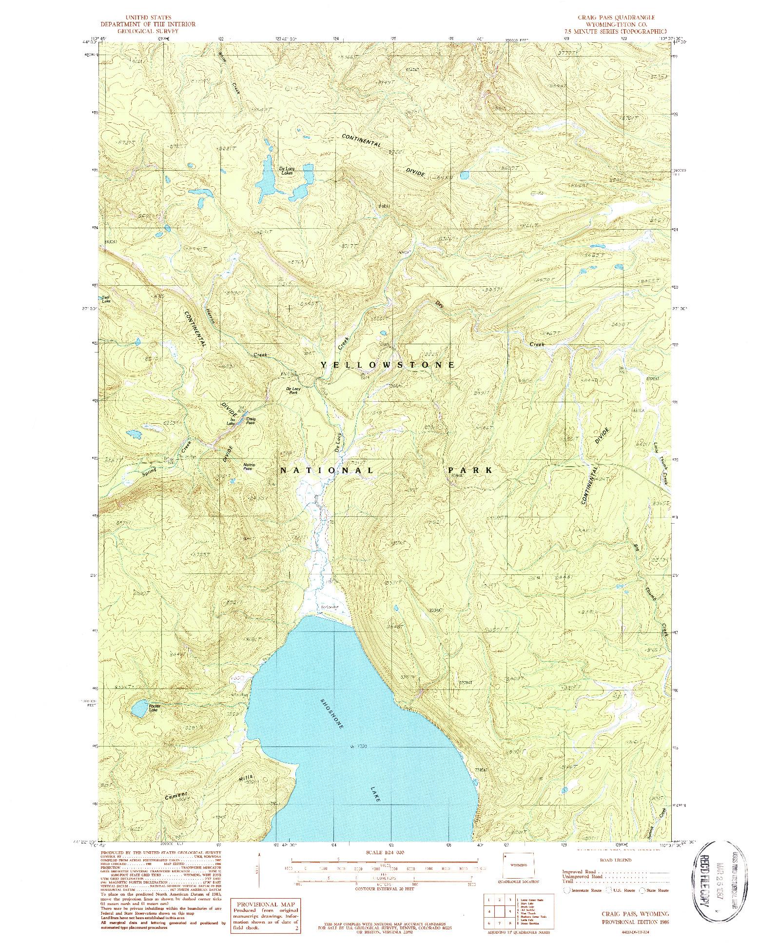 USGS 1:24000-SCALE QUADRANGLE FOR CRAIG PASS, WY 1986
