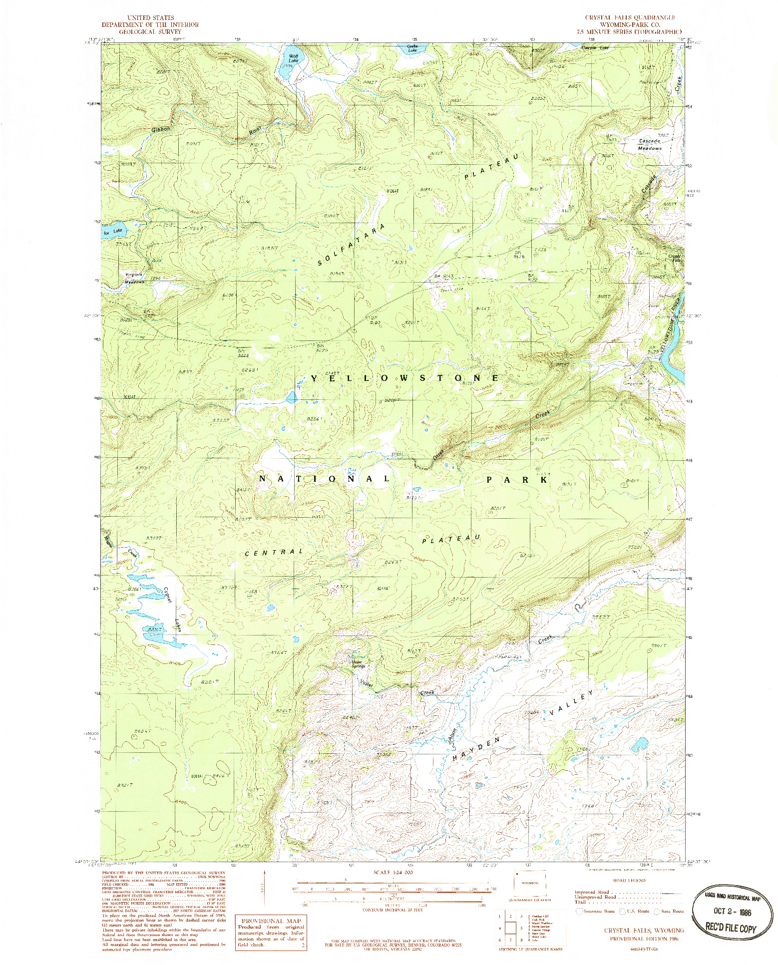 USGS 1:24000-SCALE QUADRANGLE FOR CRYSTAL FALLS, WY 1986