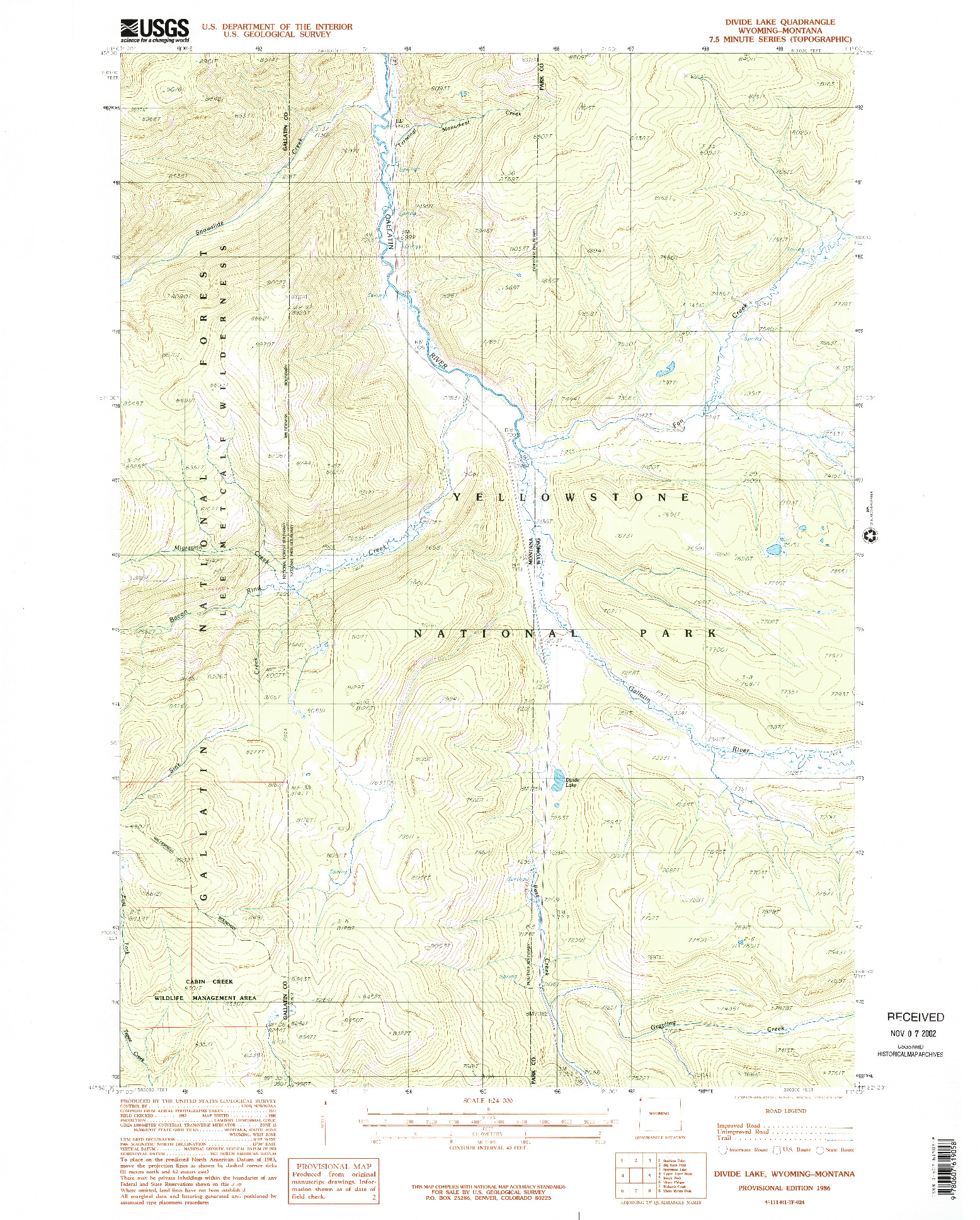 USGS 1:24000-SCALE QUADRANGLE FOR DIVIDE LAKE, WY 1986