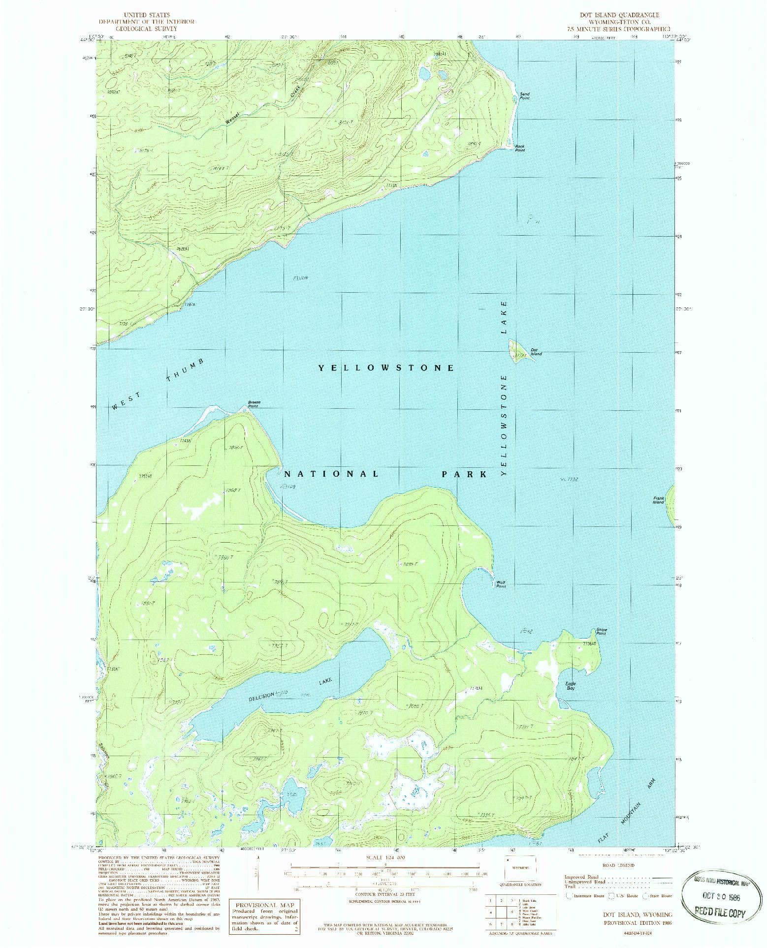 USGS 1:24000-SCALE QUADRANGLE FOR DOT ISLAND, WY 1986