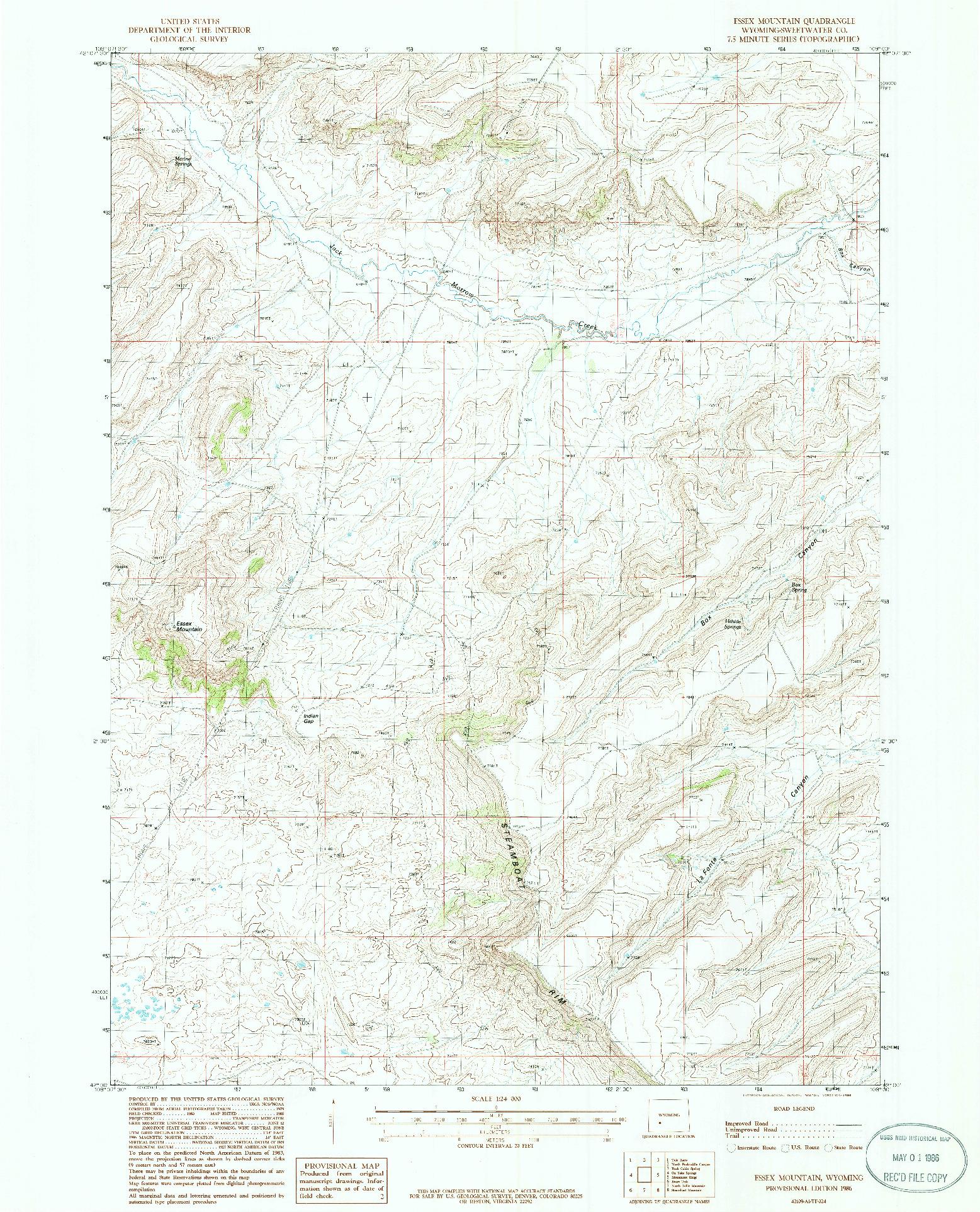 USGS 1:24000-SCALE QUADRANGLE FOR ESSEX MOUNTAIN, WY 1986