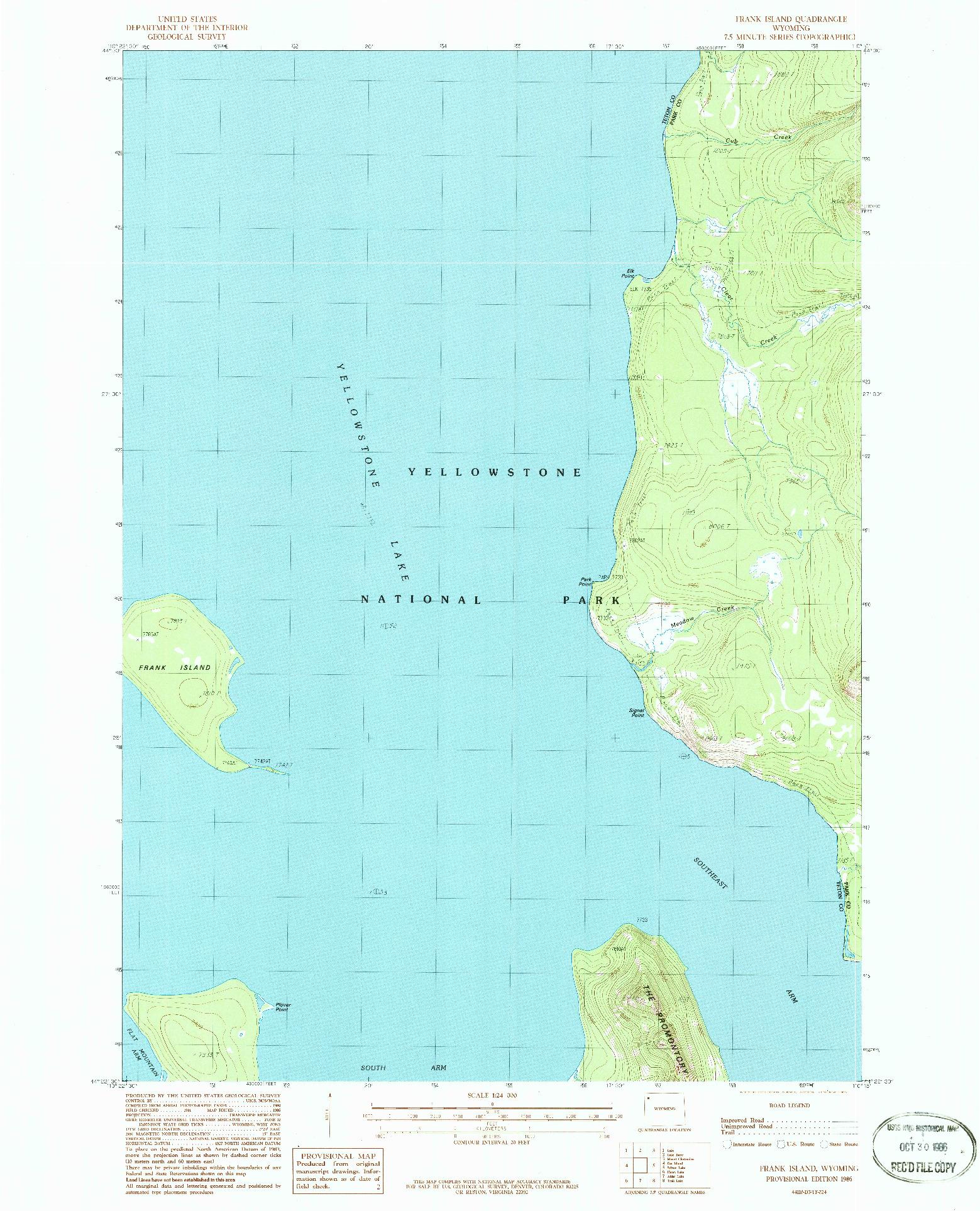 USGS 1:24000-SCALE QUADRANGLE FOR FRANK ISLAND, WY 1986