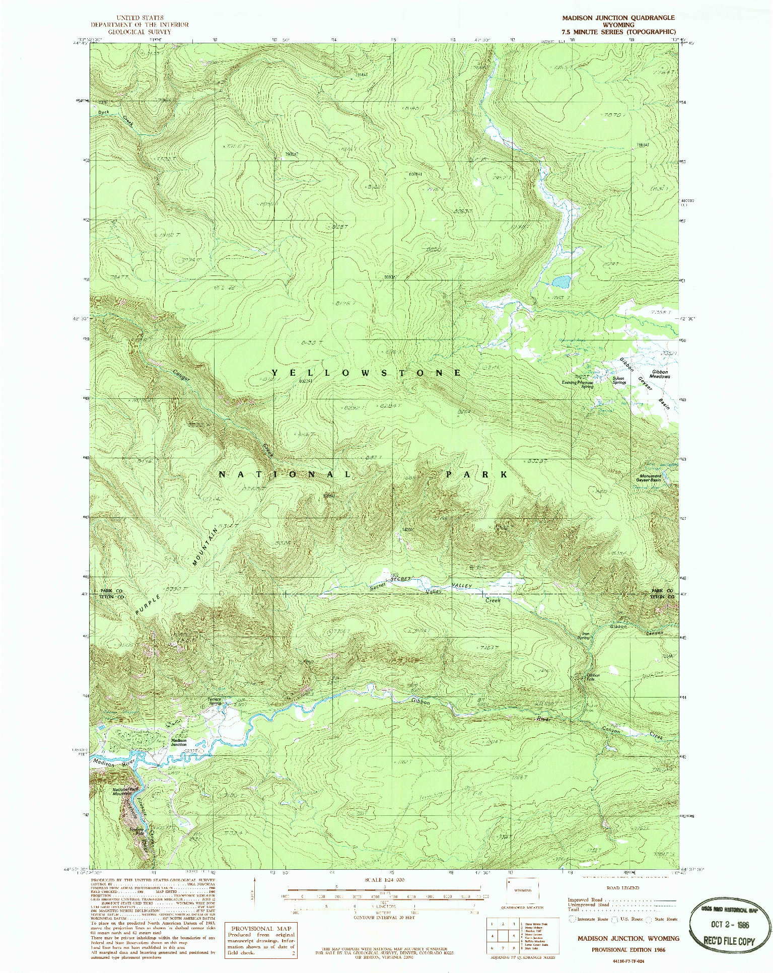 USGS 1:24000-SCALE QUADRANGLE FOR MADISON JUNCTION, WY 1986