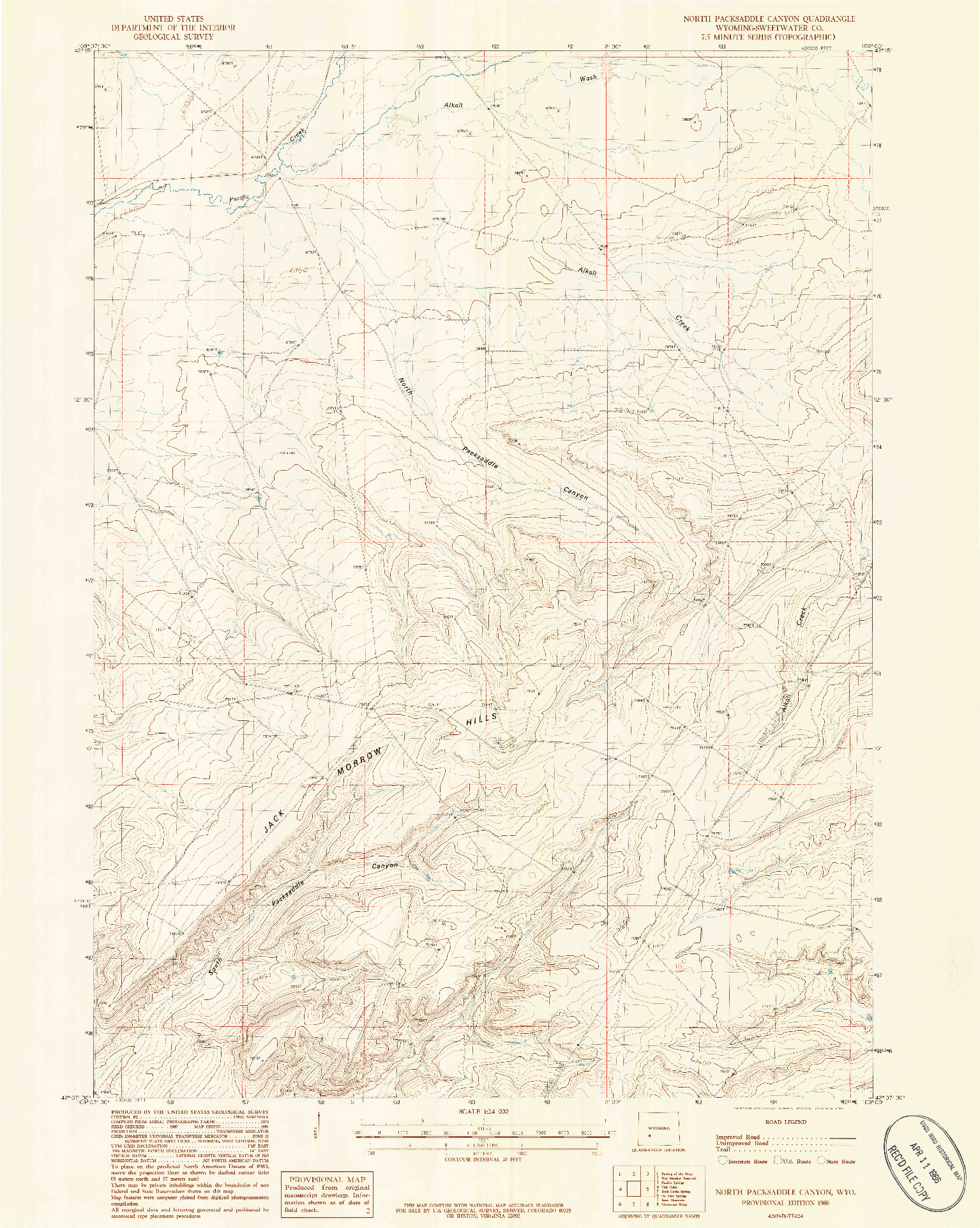USGS 1:24000-SCALE QUADRANGLE FOR NORTH PACKSADDLE CANYON, WY 1986