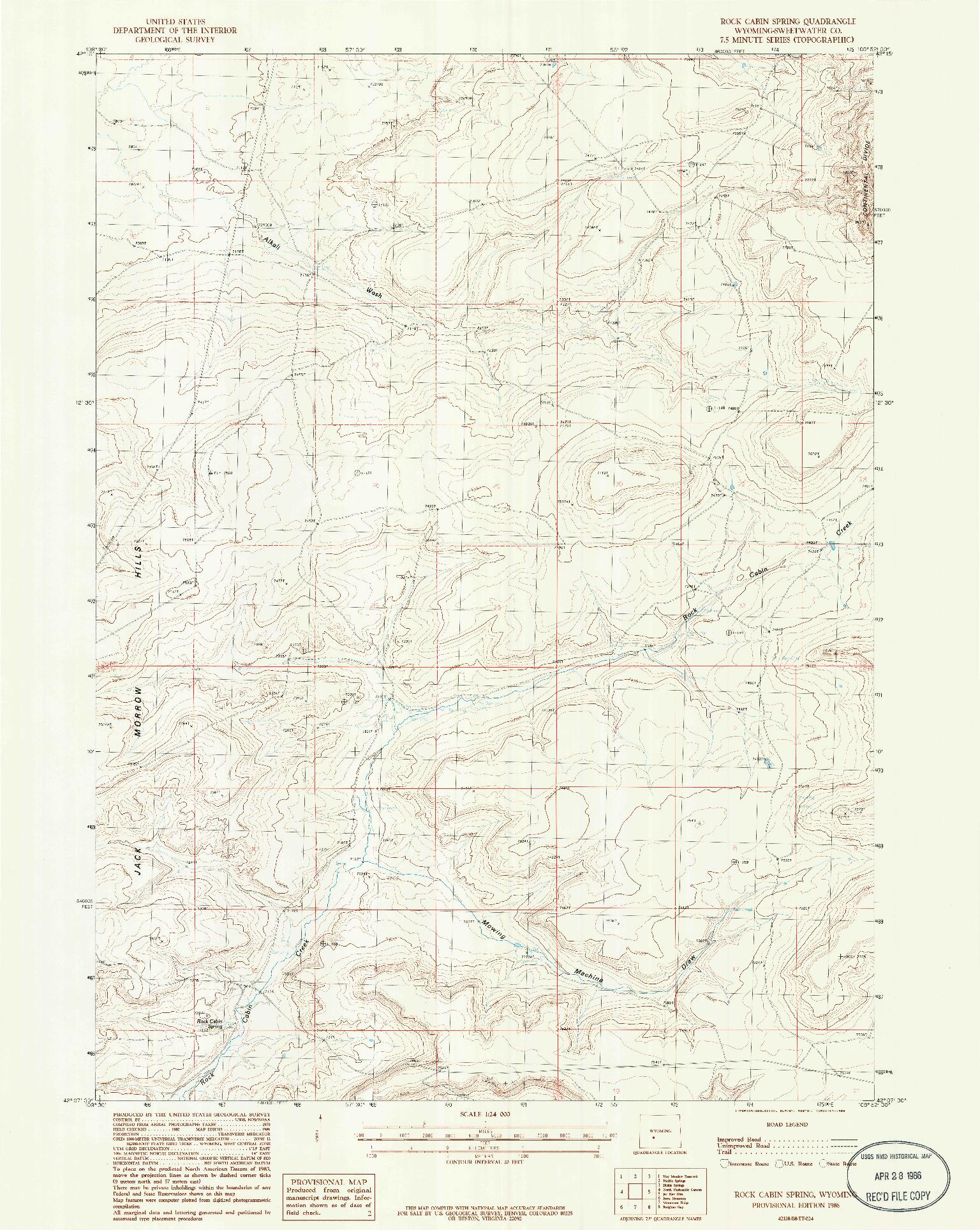 USGS 1:24000-SCALE QUADRANGLE FOR ROCK CABIN SPRING, WY 1986
