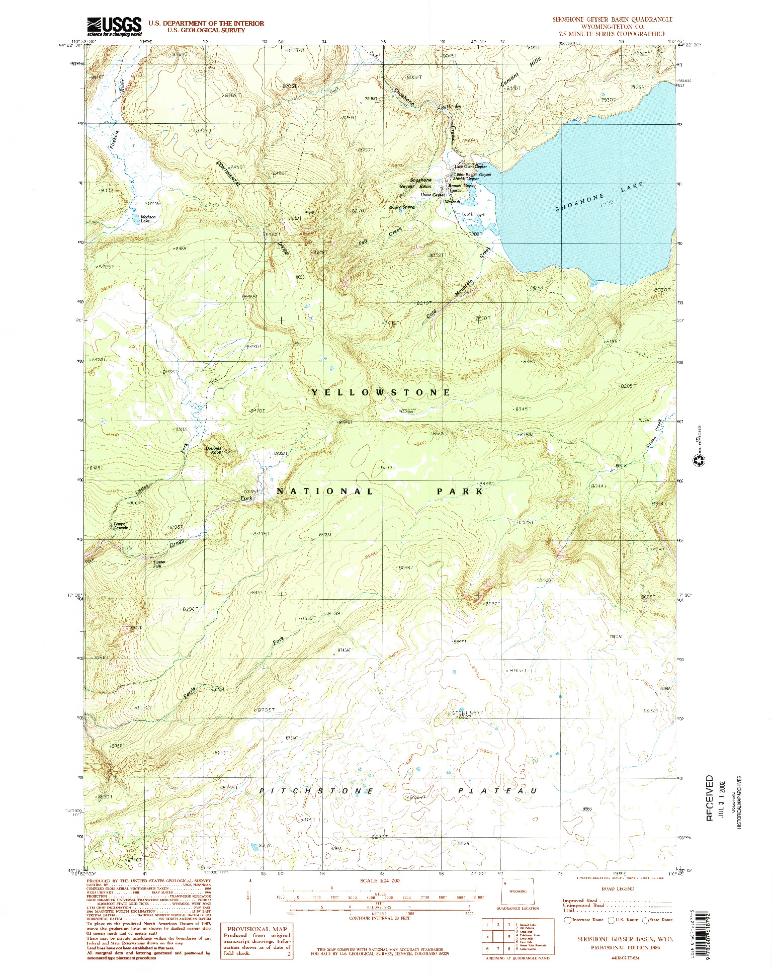 USGS 1:24000-SCALE QUADRANGLE FOR SHOSHONE GEYSER BASIN, WY 1986