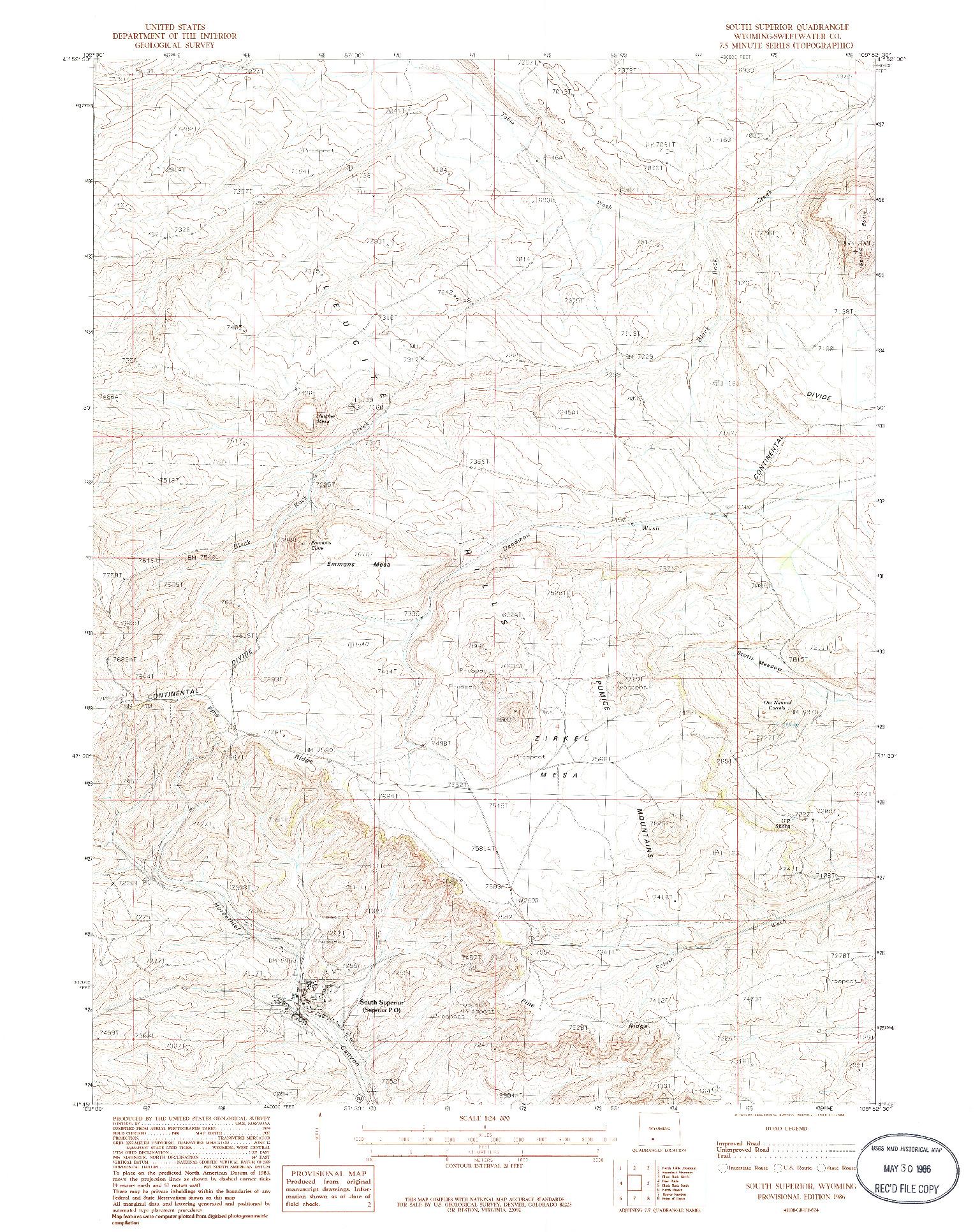 USGS 1:24000-SCALE QUADRANGLE FOR SOUTH SUPERIOR, WY 1986