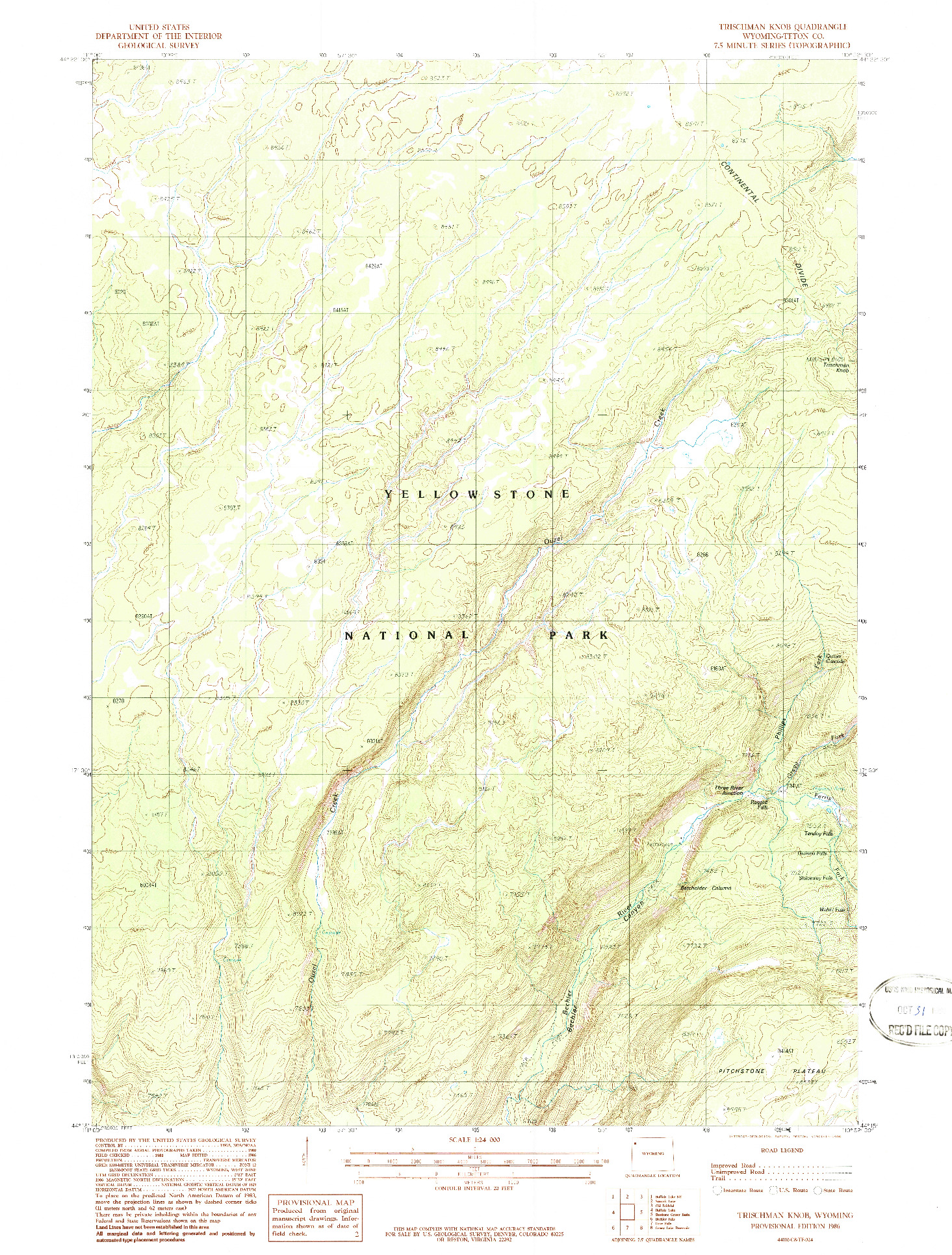 USGS 1:24000-SCALE QUADRANGLE FOR TRISCHMAN KNOB, WY 1986