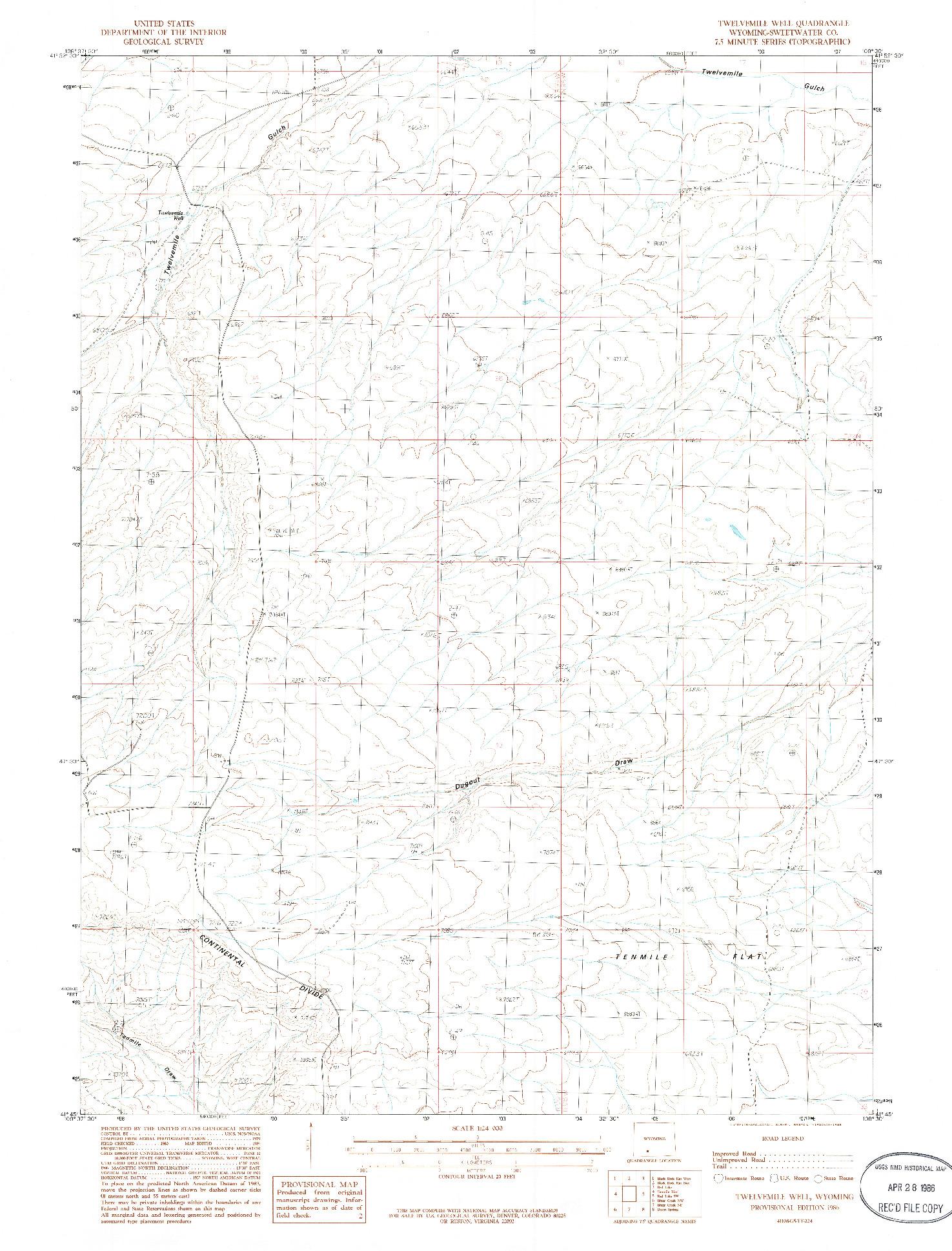 USGS 1:24000-SCALE QUADRANGLE FOR TWELVEMILE WELL, WY 1986