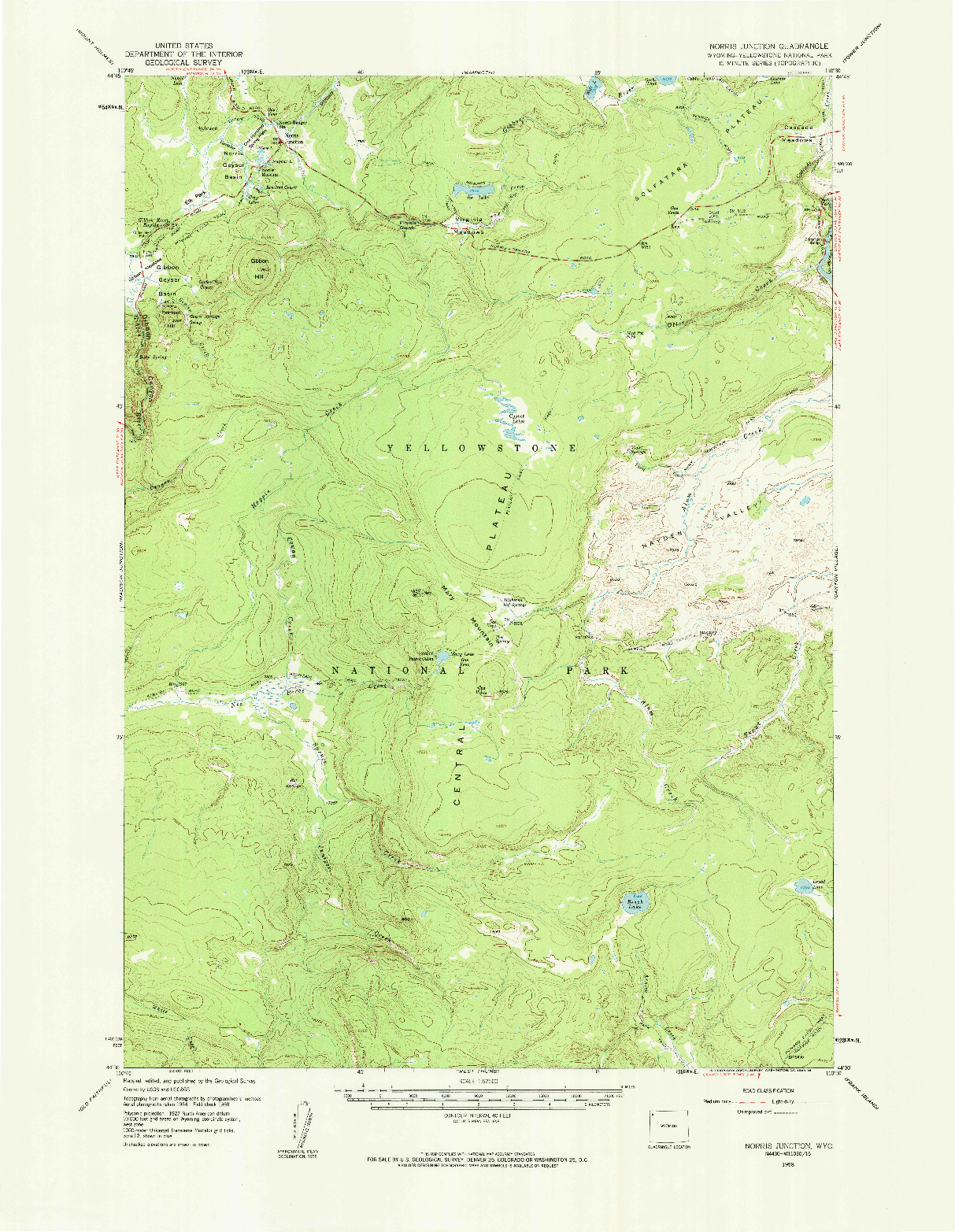 USGS 1:62500-SCALE QUADRANGLE FOR NORRIS JUNCTION, WY 1958