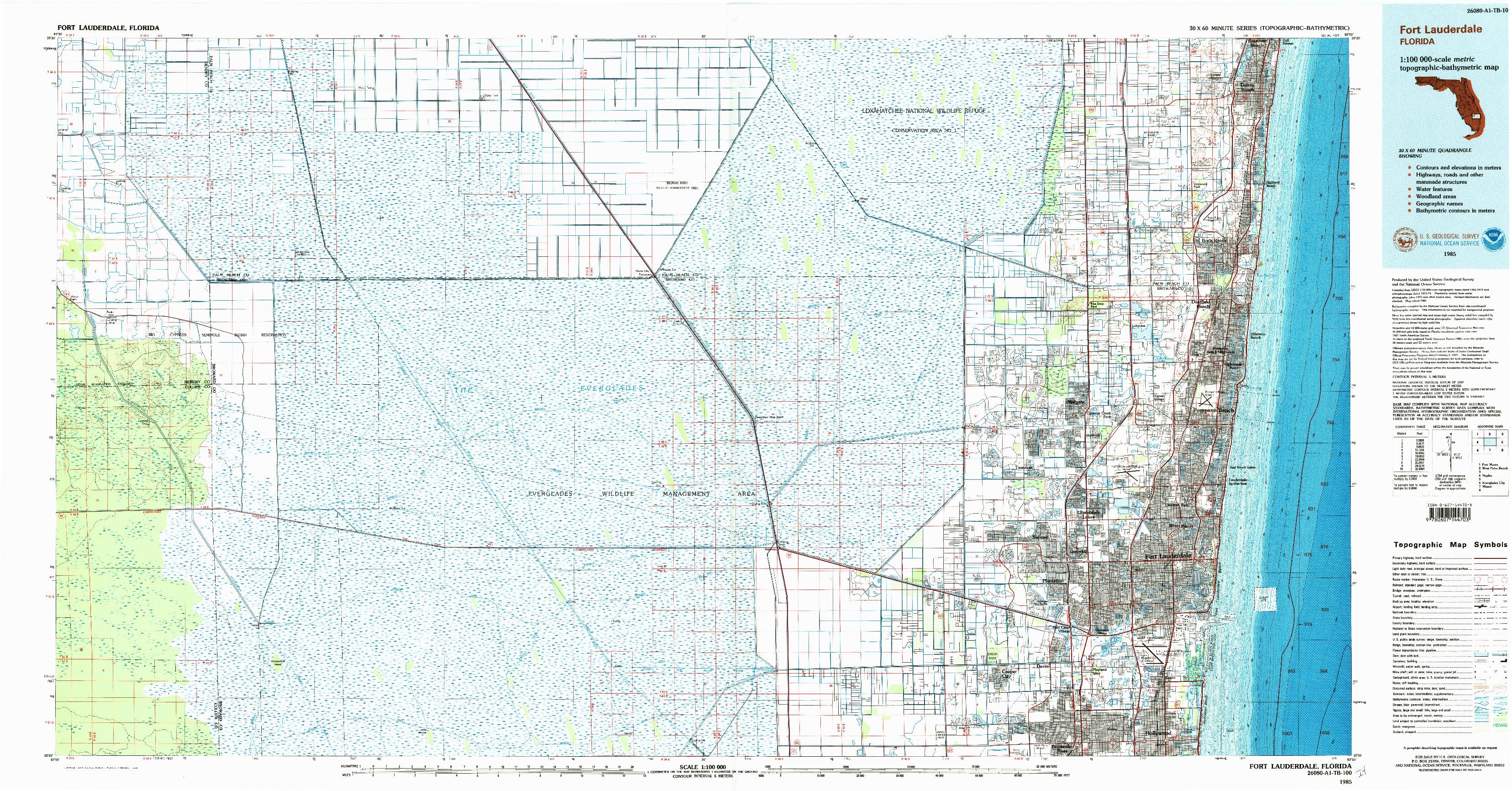 USGS 1:100000-SCALE QUADRANGLE FOR FORT LAUDERDALE, FL 1985