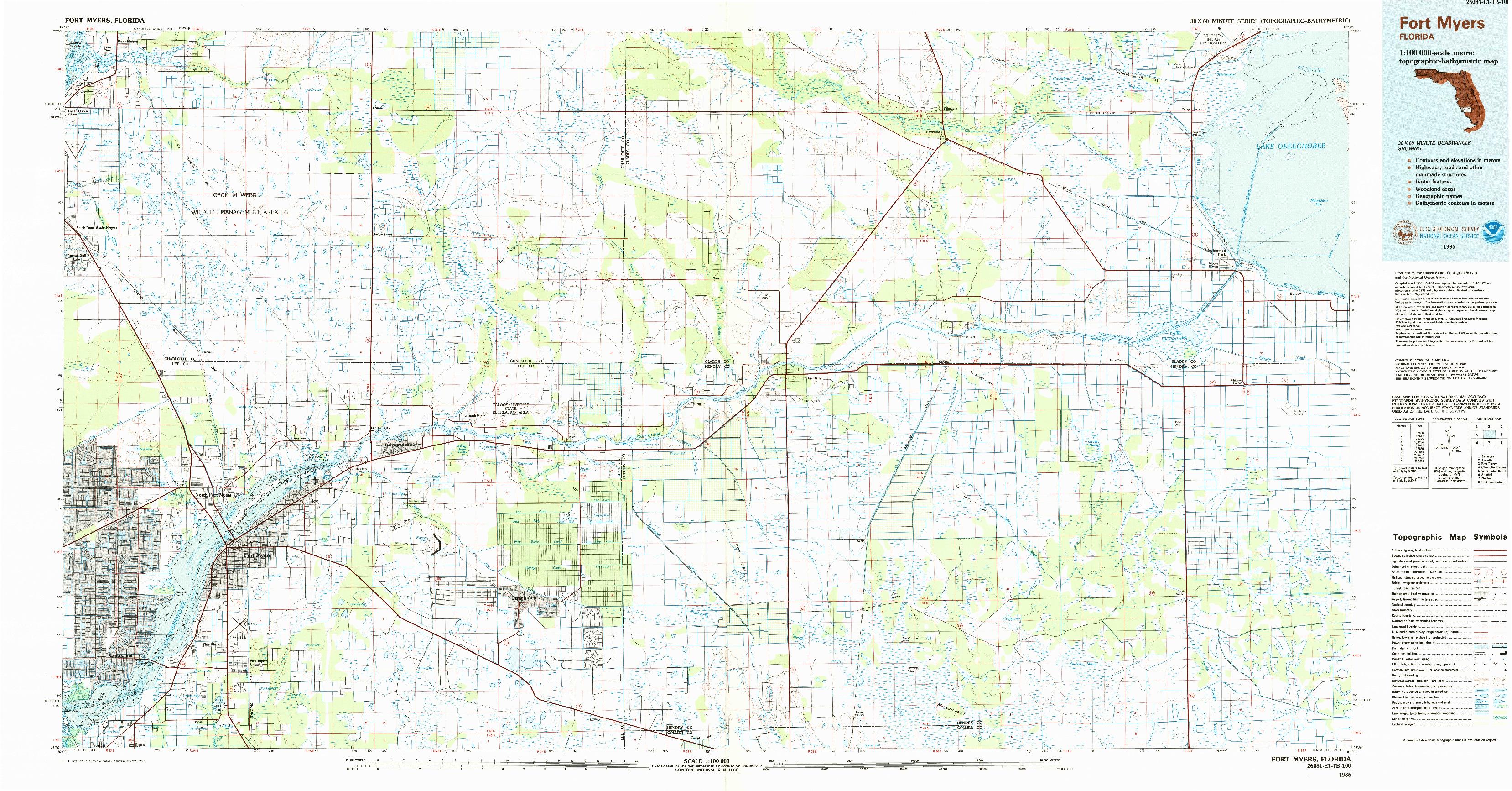 USGS 1:100000-SCALE QUADRANGLE FOR FORT MYERS, FL 1985