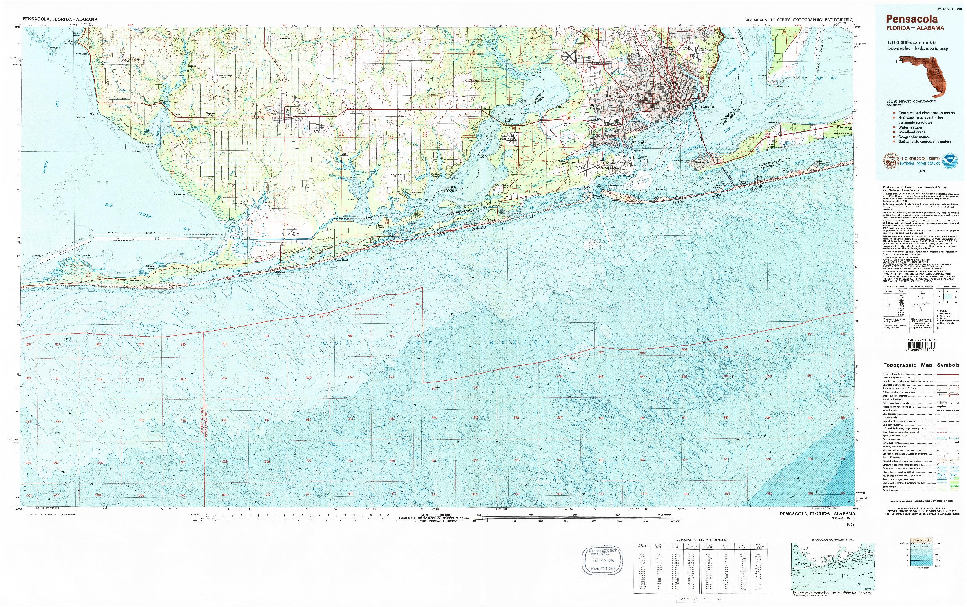 USGS 1:100000-SCALE QUADRANGLE FOR PENSACOLA, FL 1978