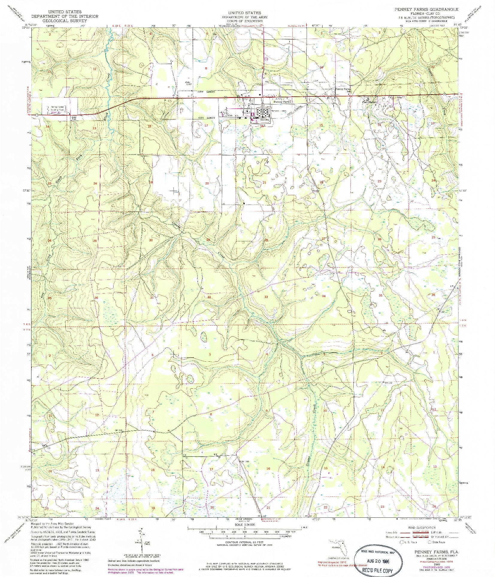 USGS 1:24000-SCALE QUADRANGLE FOR PENNEY FARMS, FL 1949