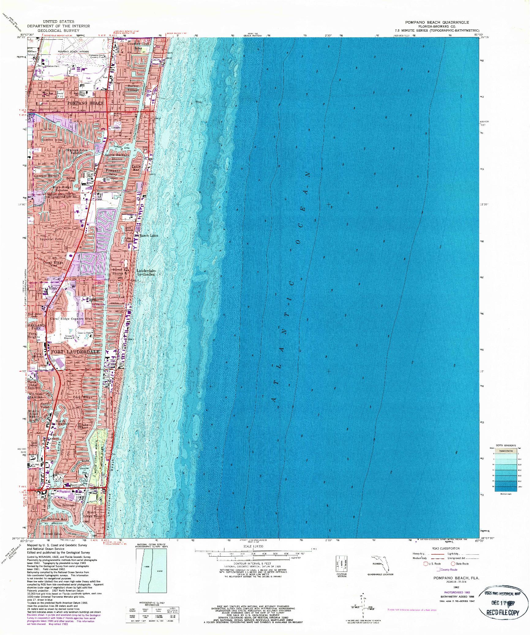 USGS 1:24000-SCALE QUADRANGLE FOR POMPANO BEACH, FL 1962