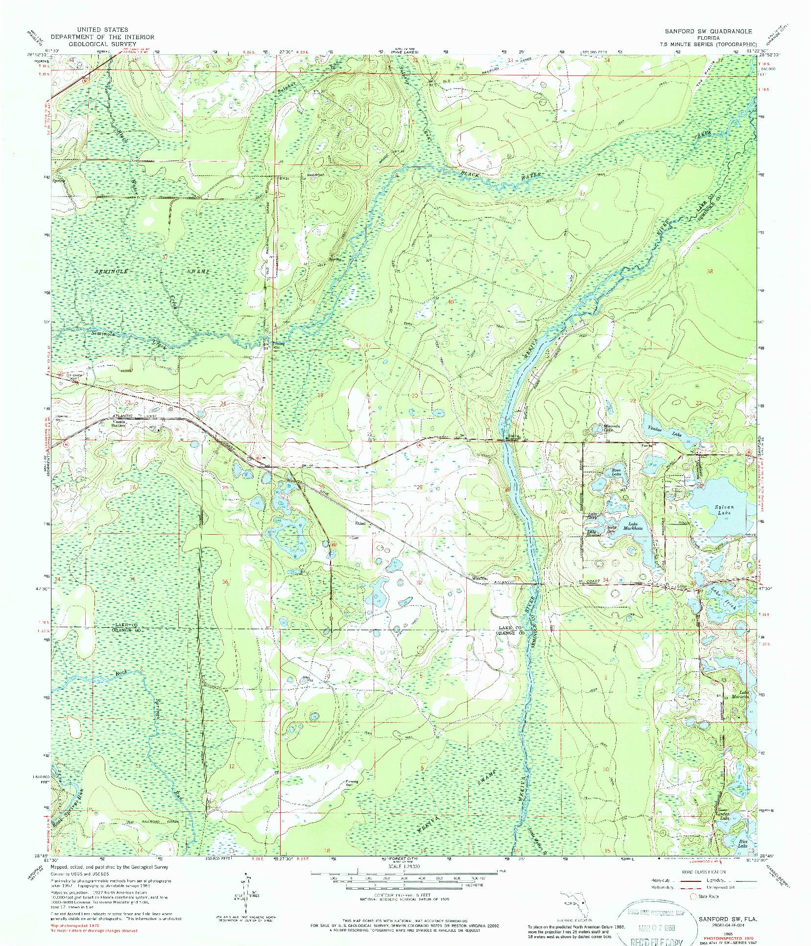 USGS 1:24000-SCALE QUADRANGLE FOR SANFORD SW, FL 1965