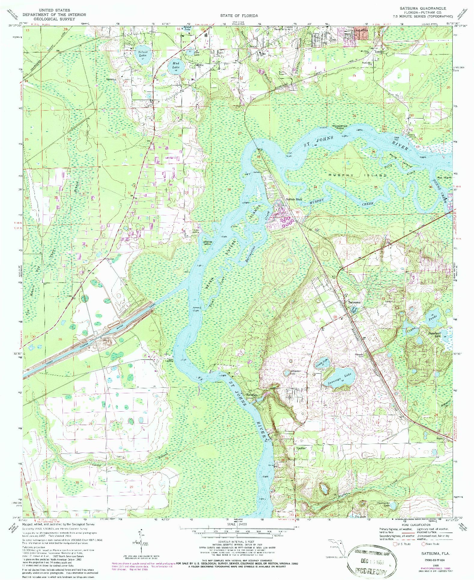 USGS 1:24000-SCALE QUADRANGLE FOR SATSUMA, FL 1968
