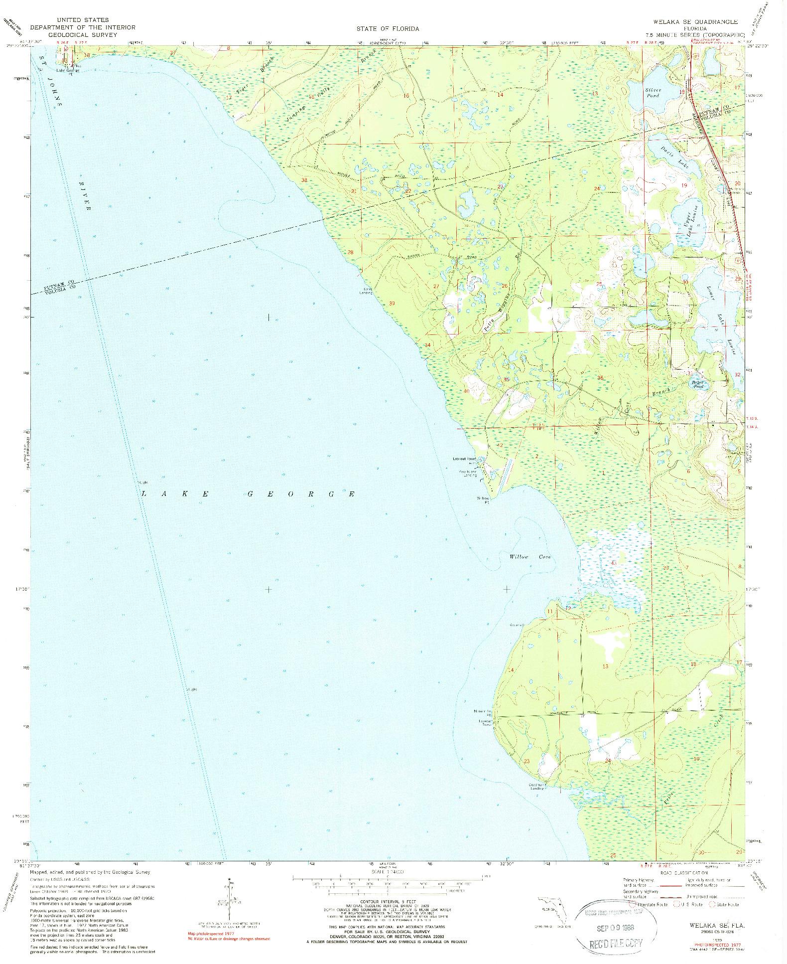 USGS 1:24000-SCALE QUADRANGLE FOR WELAKA SE, FL 1970