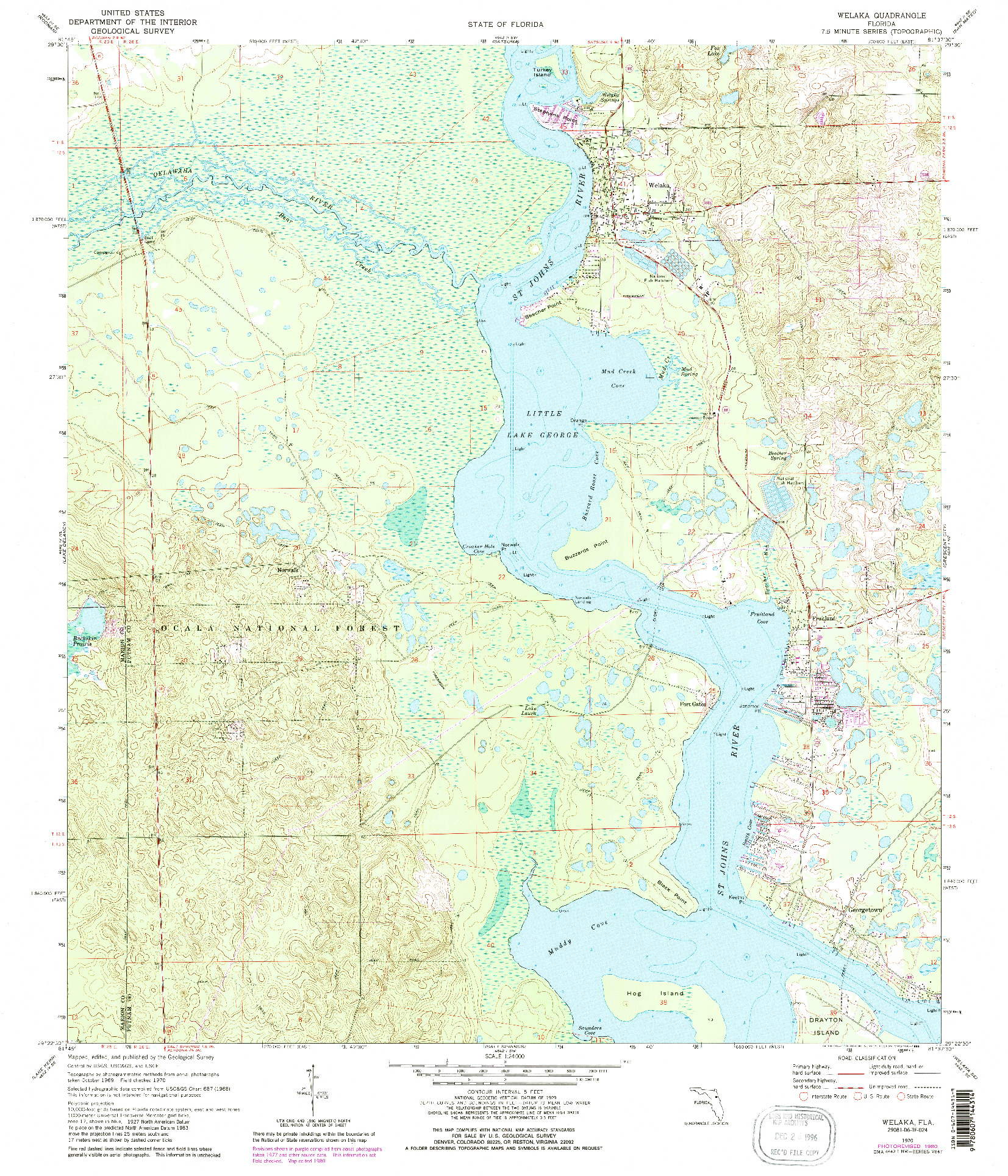 USGS 1:24000-SCALE QUADRANGLE FOR WELAKA, FL 1970