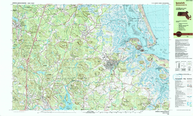 USGS 1:25000-SCALE QUADRANGLE FOR IPSWICH, MA 1985