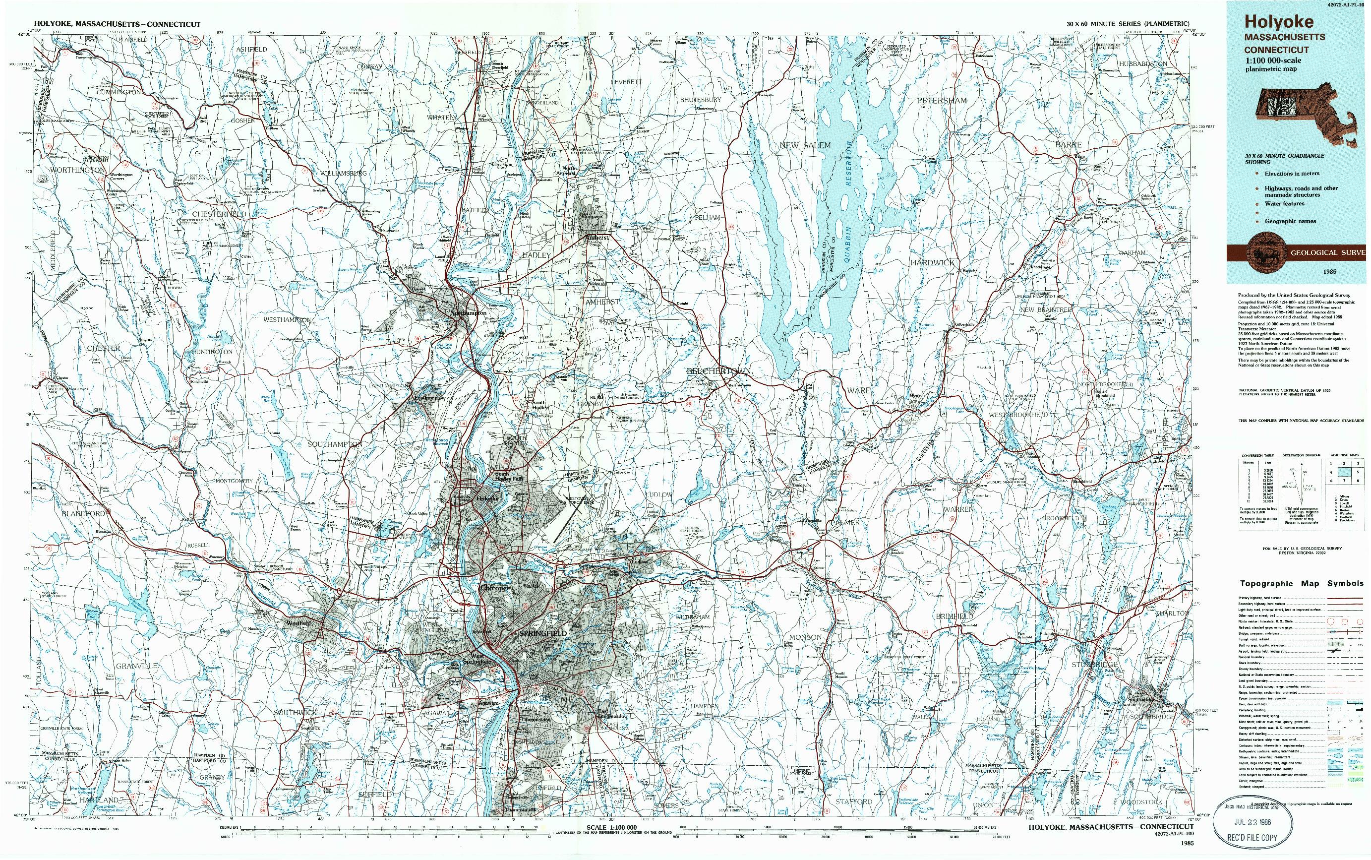 USGS 1:100000-SCALE QUADRANGLE FOR HOLYOKE, MA 1985