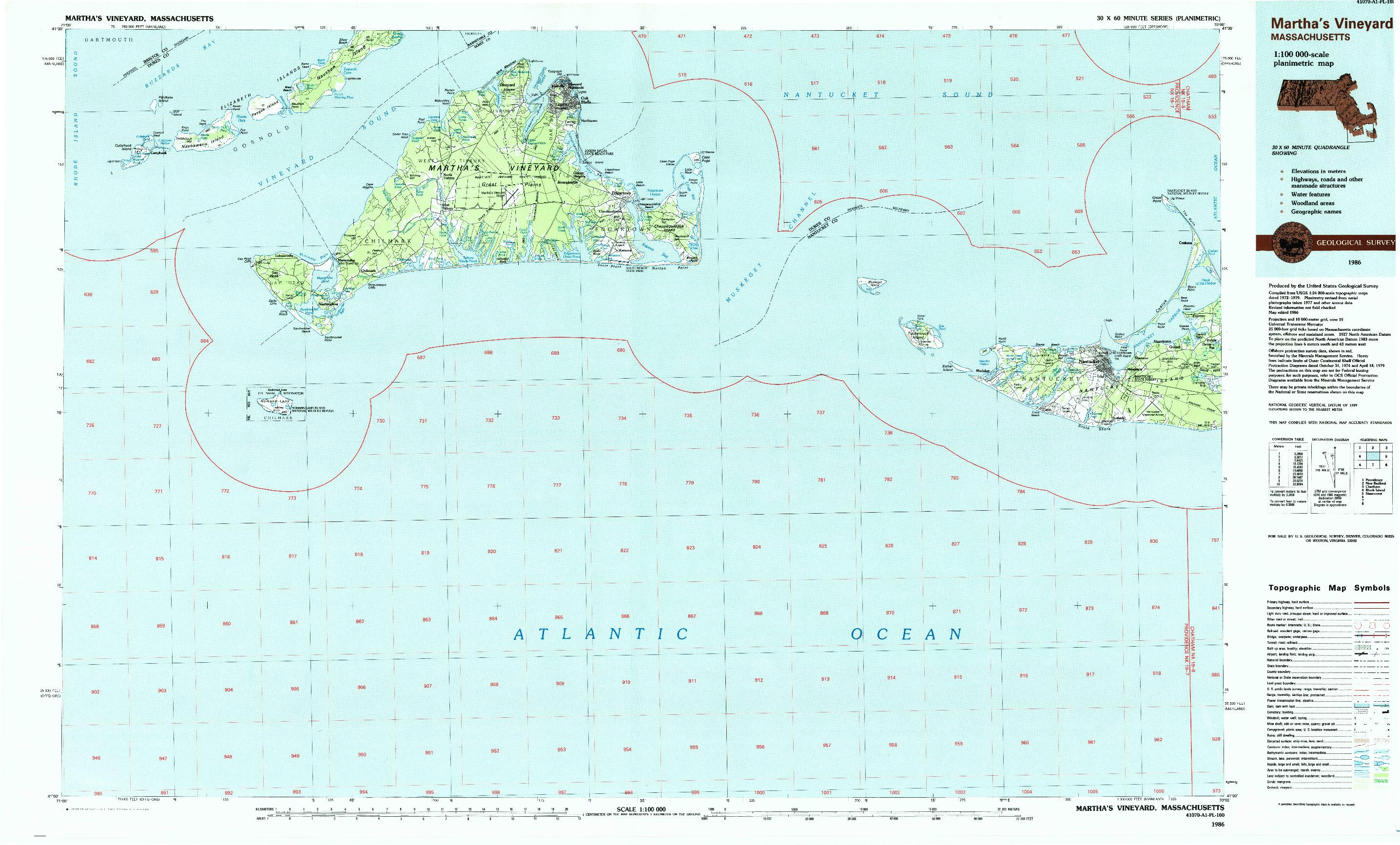 USGS 1:100000-SCALE QUADRANGLE FOR MARTHA'S VINEYARD, MA 1986