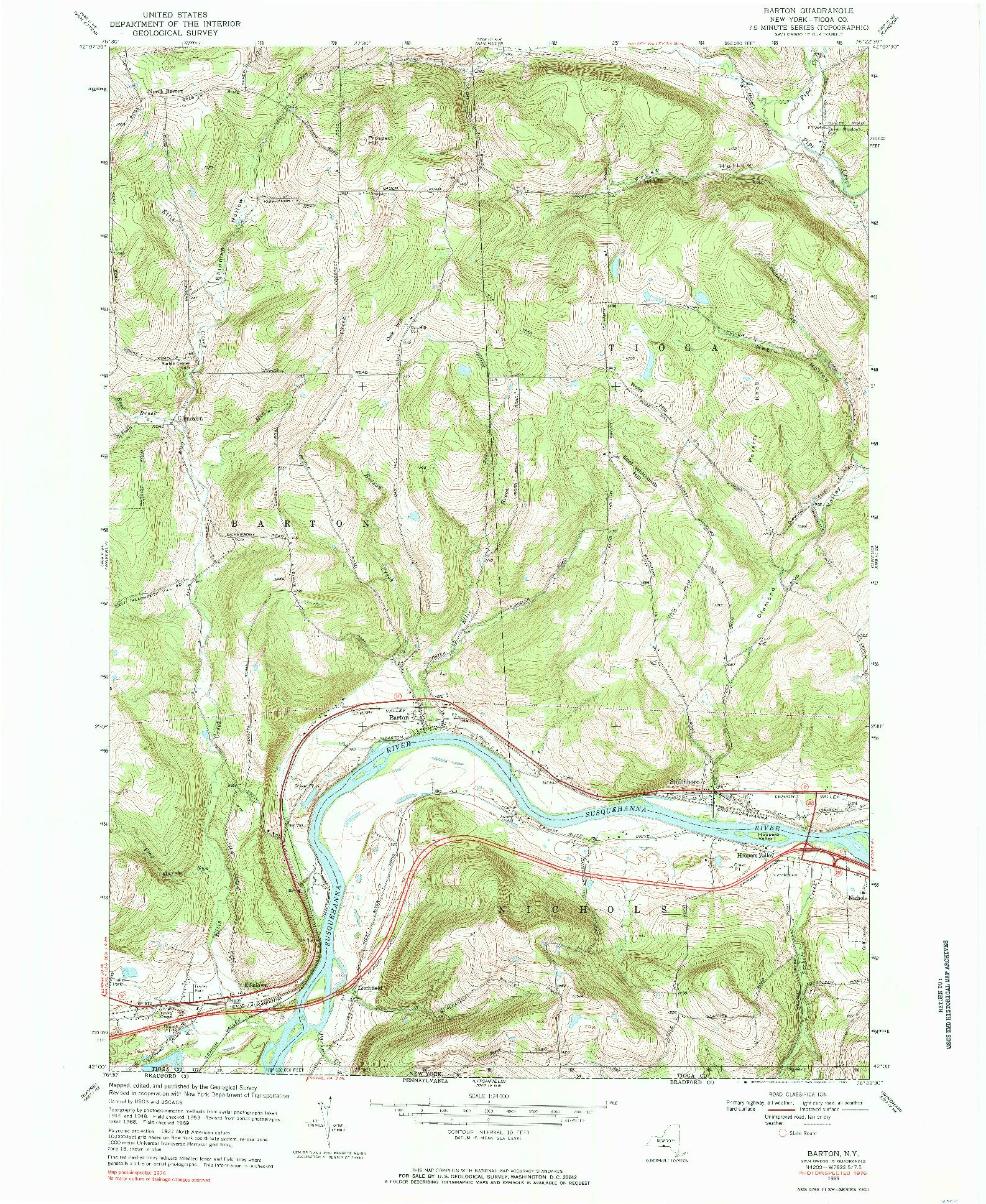 USGS 1:24000-SCALE QUADRANGLE FOR BARTON, NY 1969