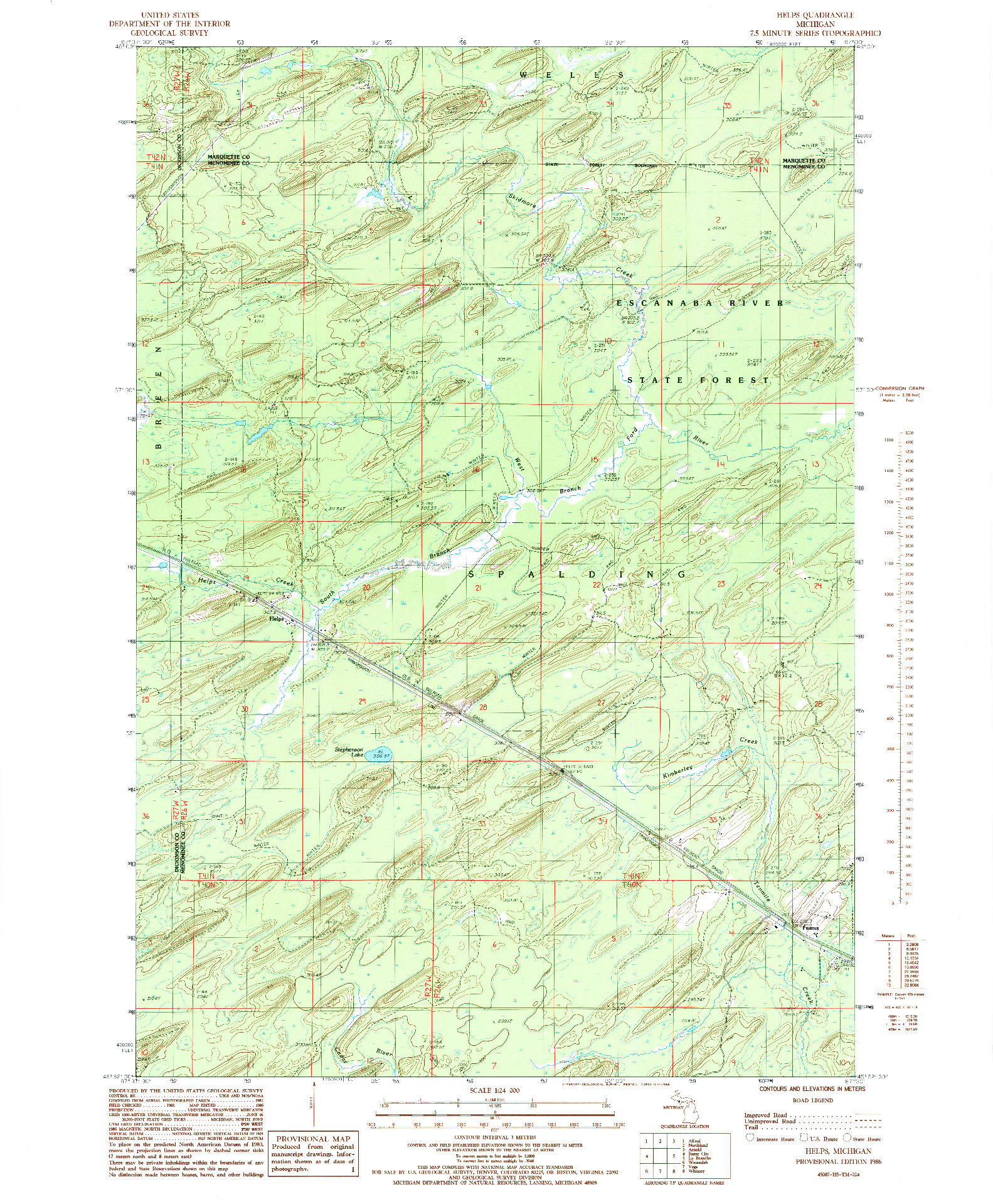 USGS 1:24000-SCALE QUADRANGLE FOR HELPS, MI 1986