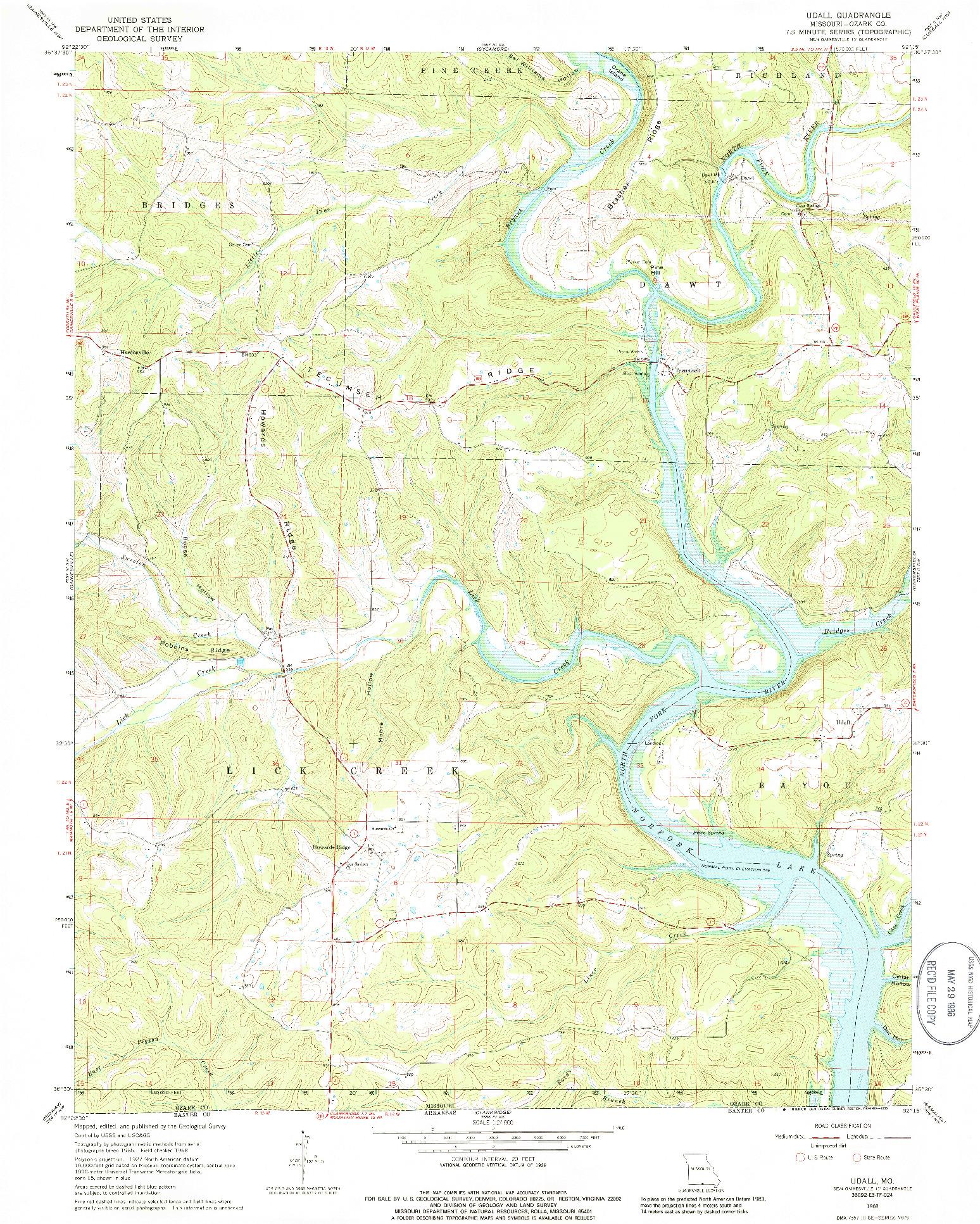 USGS 1:24000-SCALE QUADRANGLE FOR UDALL, MO 1968
