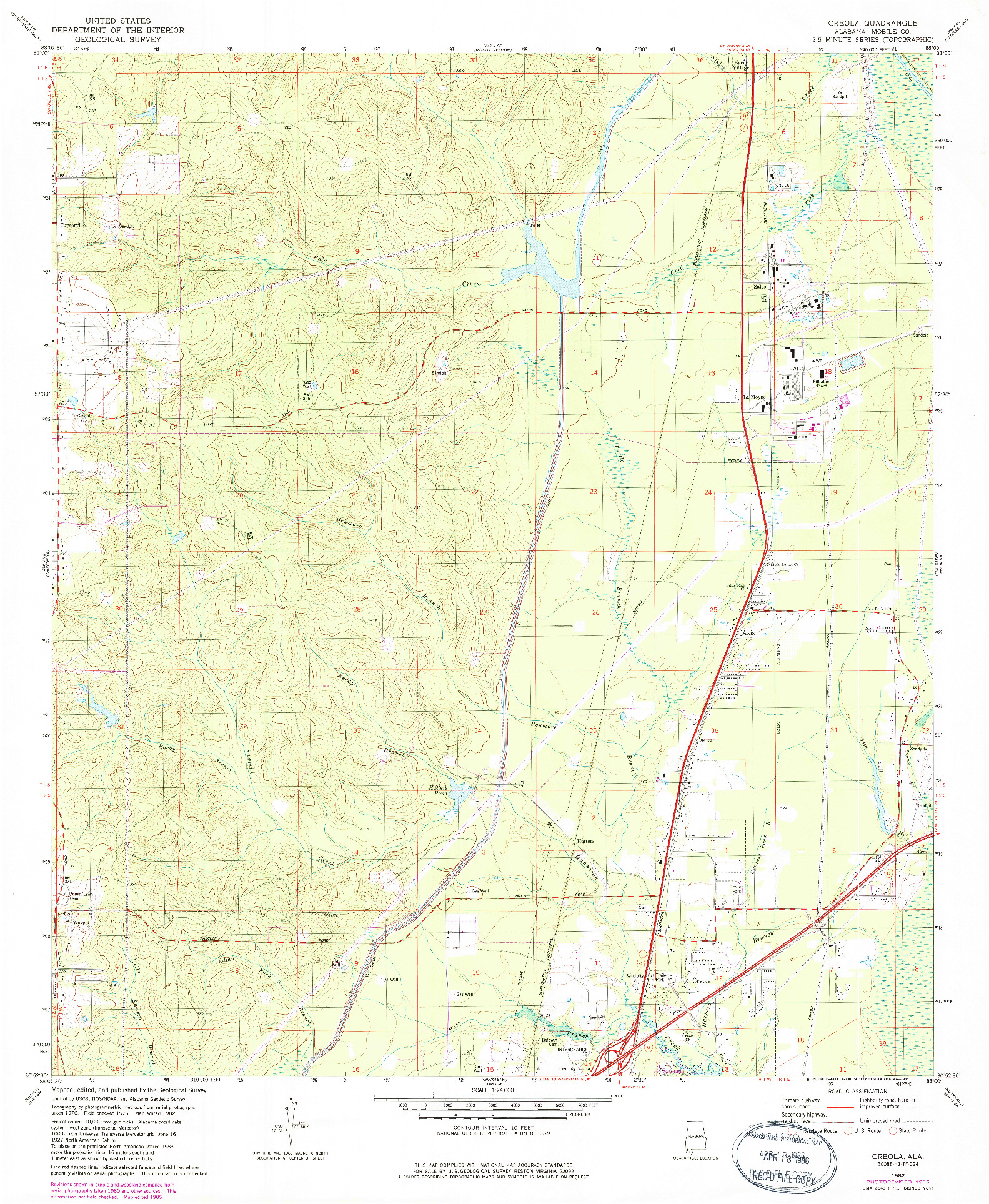 USGS 1:24000-SCALE QUADRANGLE FOR CREOLA, AL 1982
