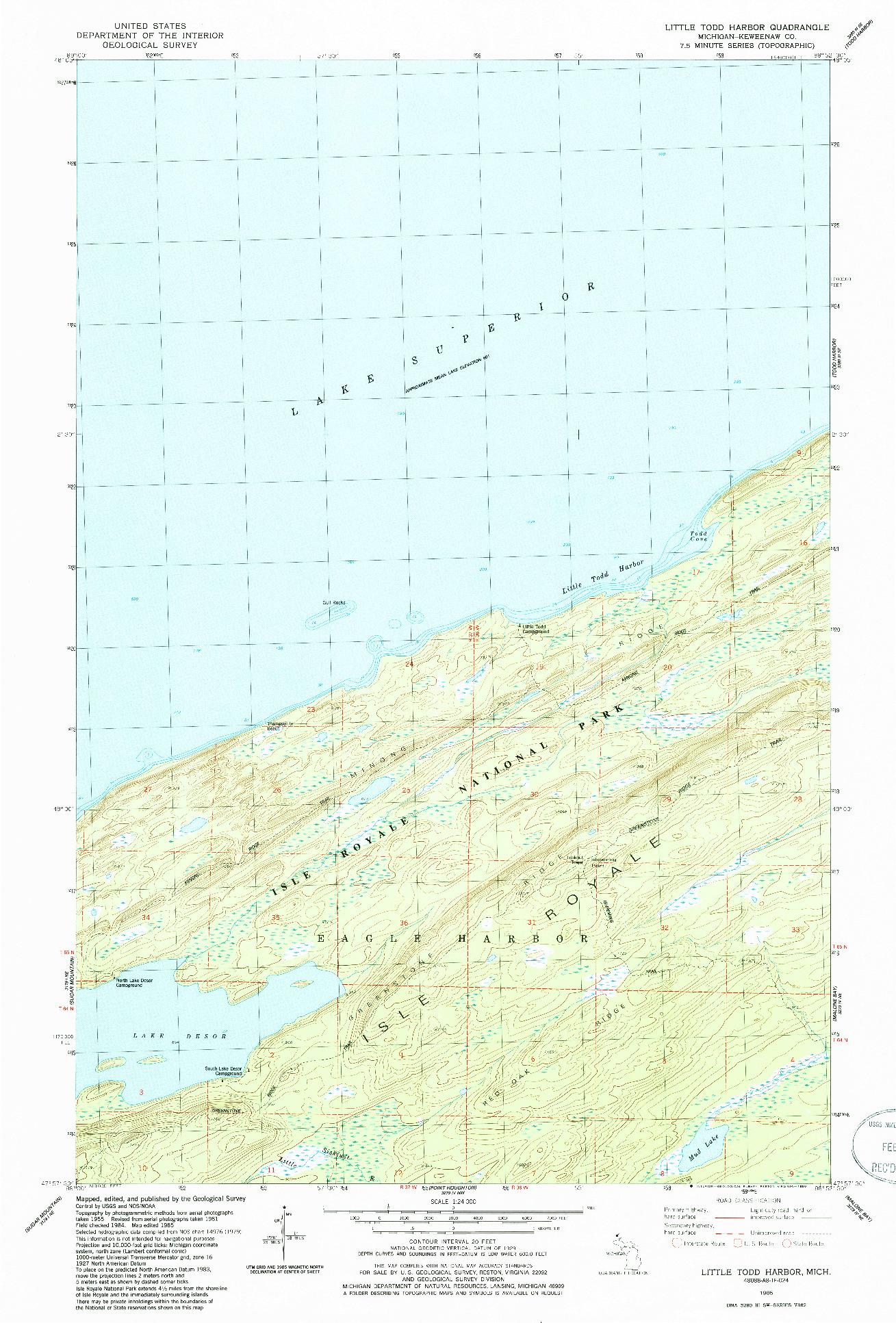 USGS 1:24000-SCALE QUADRANGLE FOR LITTLE TODD HARBOR, MI 1985