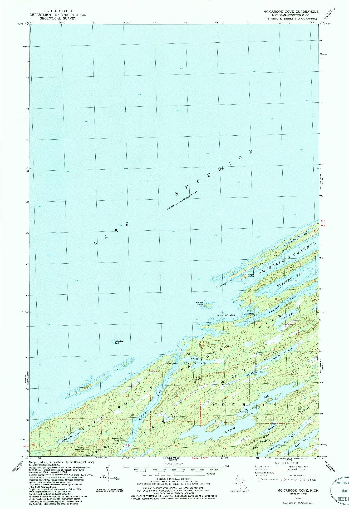 USGS 1:24000-SCALE QUADRANGLE FOR MCCARGOE COVE, MI 1985