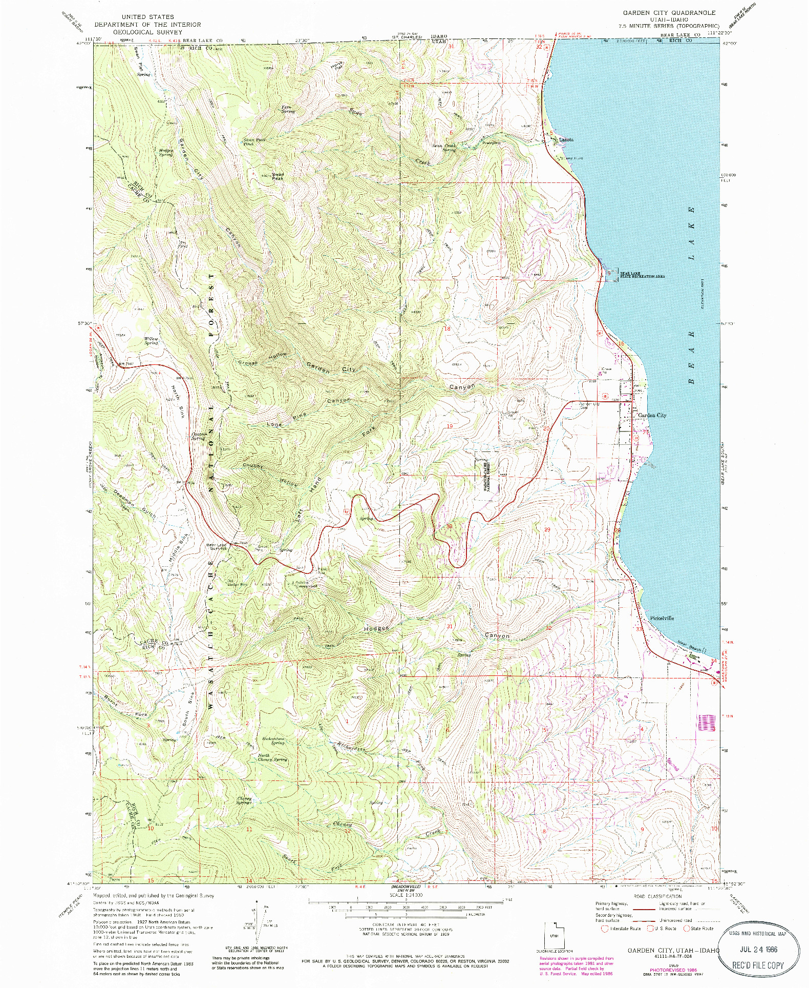 USGS 1:24000-SCALE QUADRANGLE FOR GARDEN CITY, UT 1969