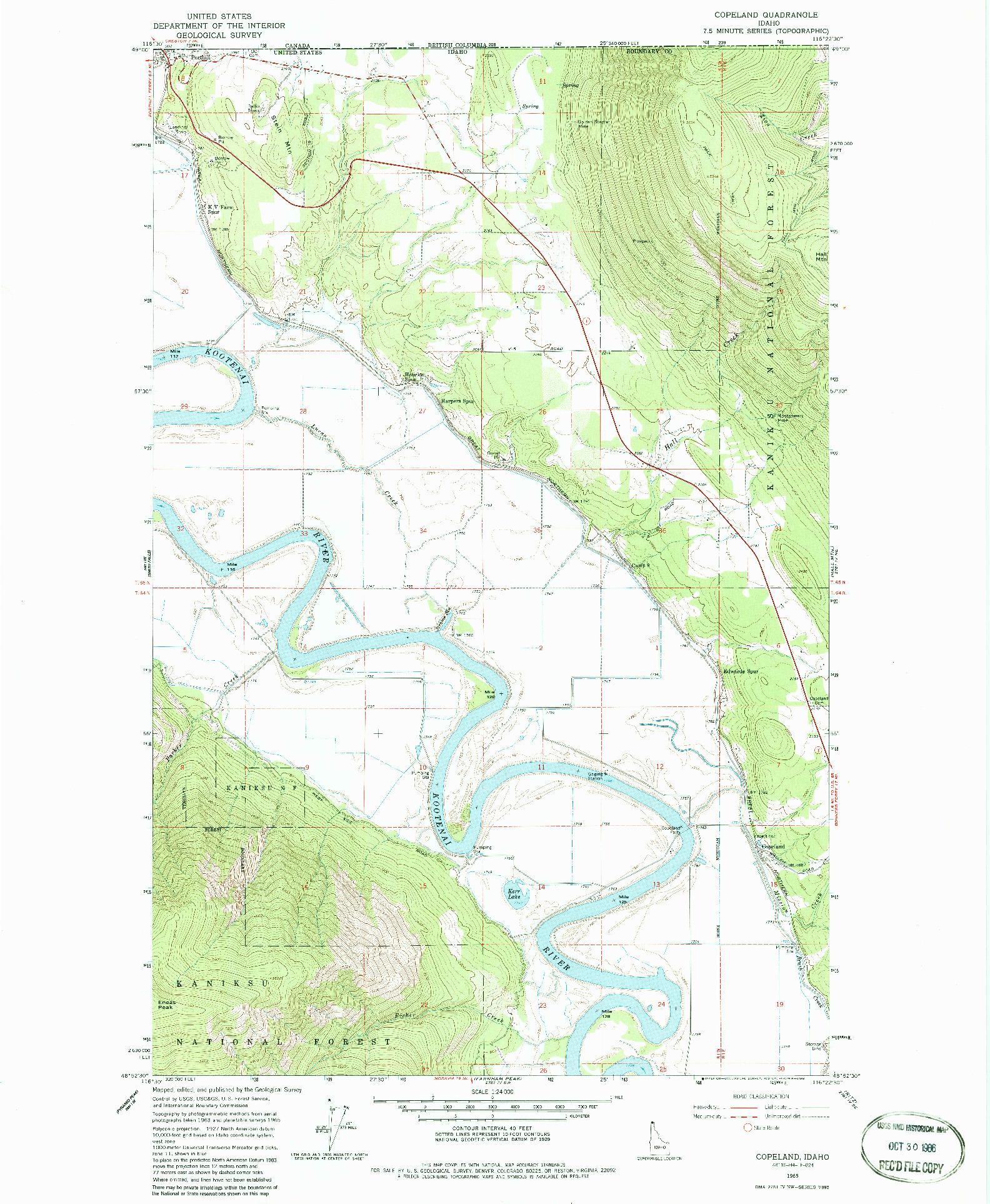 USGS 1:24000-SCALE QUADRANGLE FOR COPELAND, ID 1965