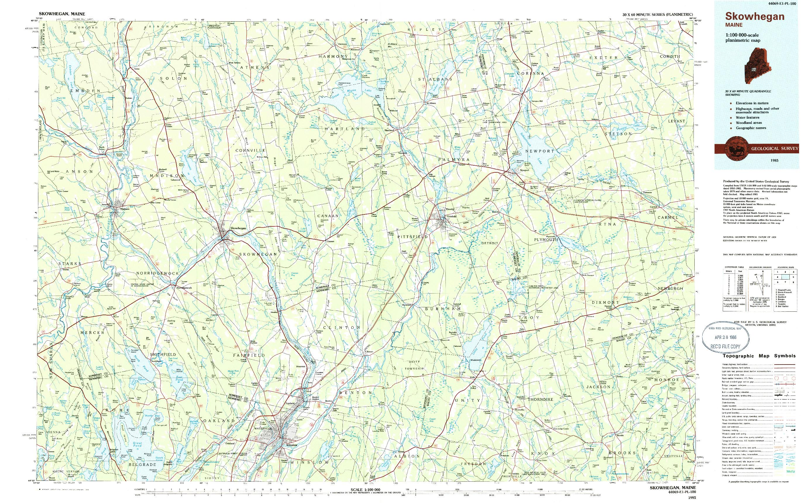 USGS 1:100000-SCALE QUADRANGLE FOR SKOWHEGAN, ME 1985