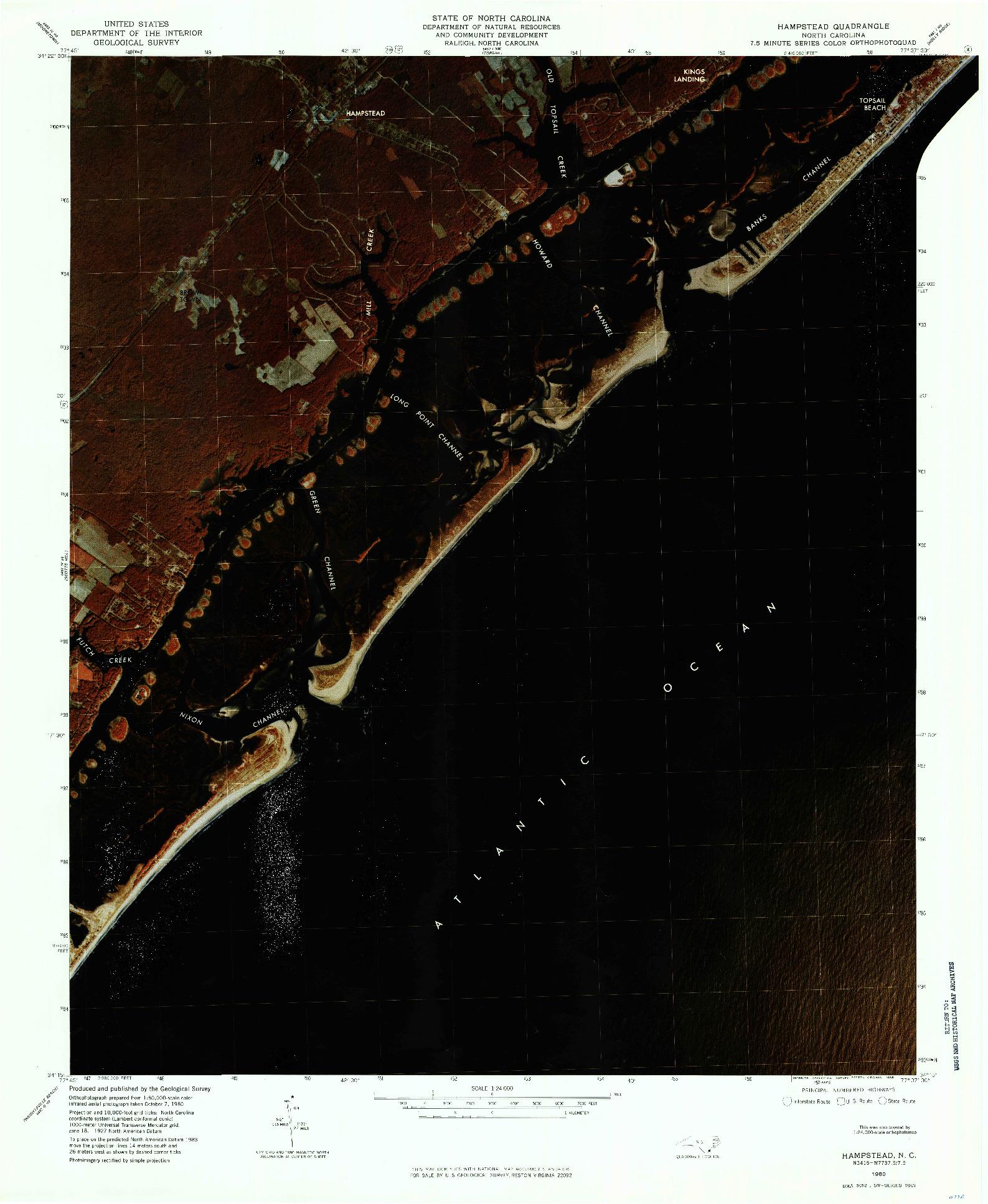 USGS 1:24000-SCALE QUADRANGLE FOR HAMPSTEAD, NC 1980