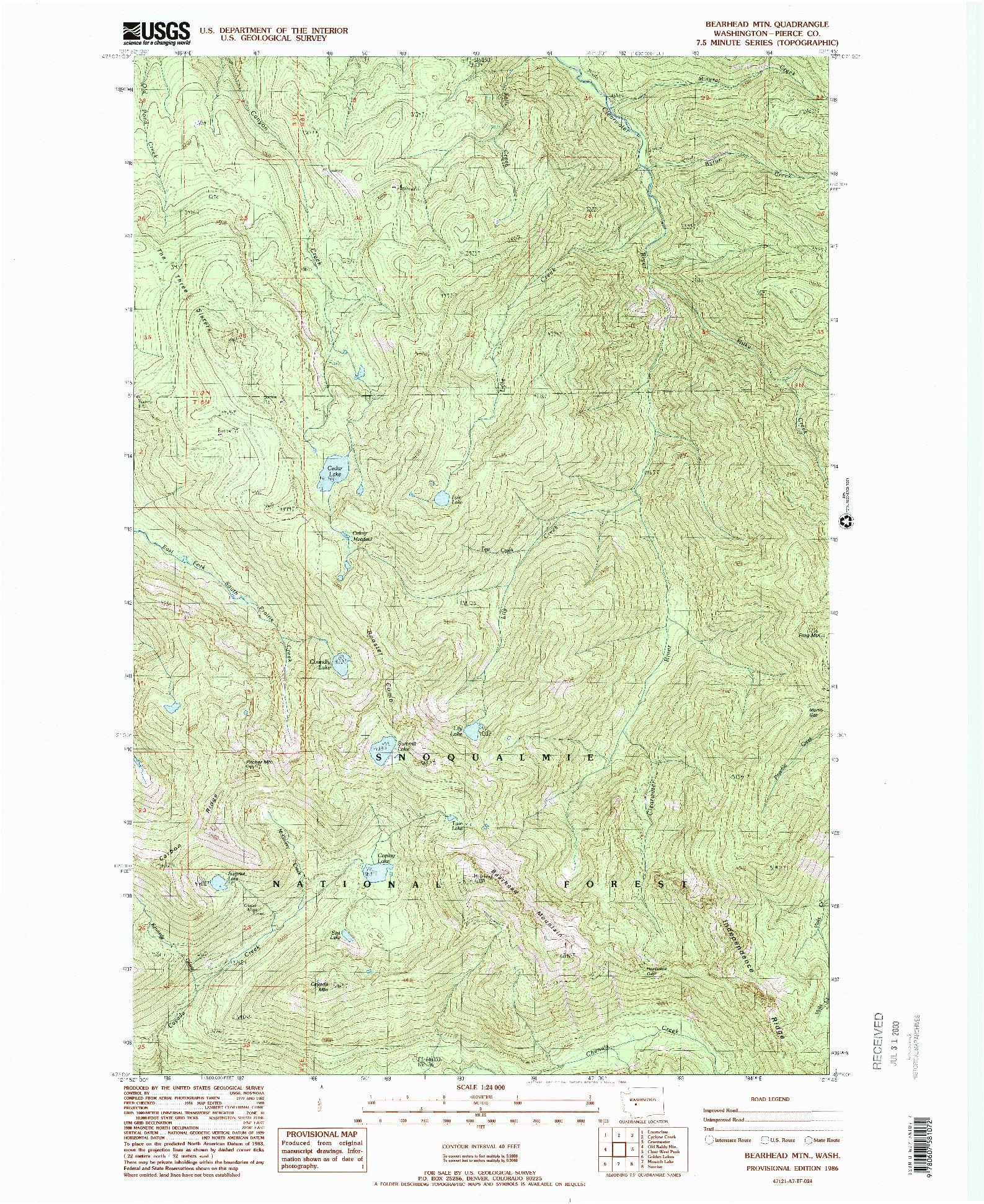 USGS 1:24000-SCALE QUADRANGLE FOR BEARHEAD MTN, WA 1986