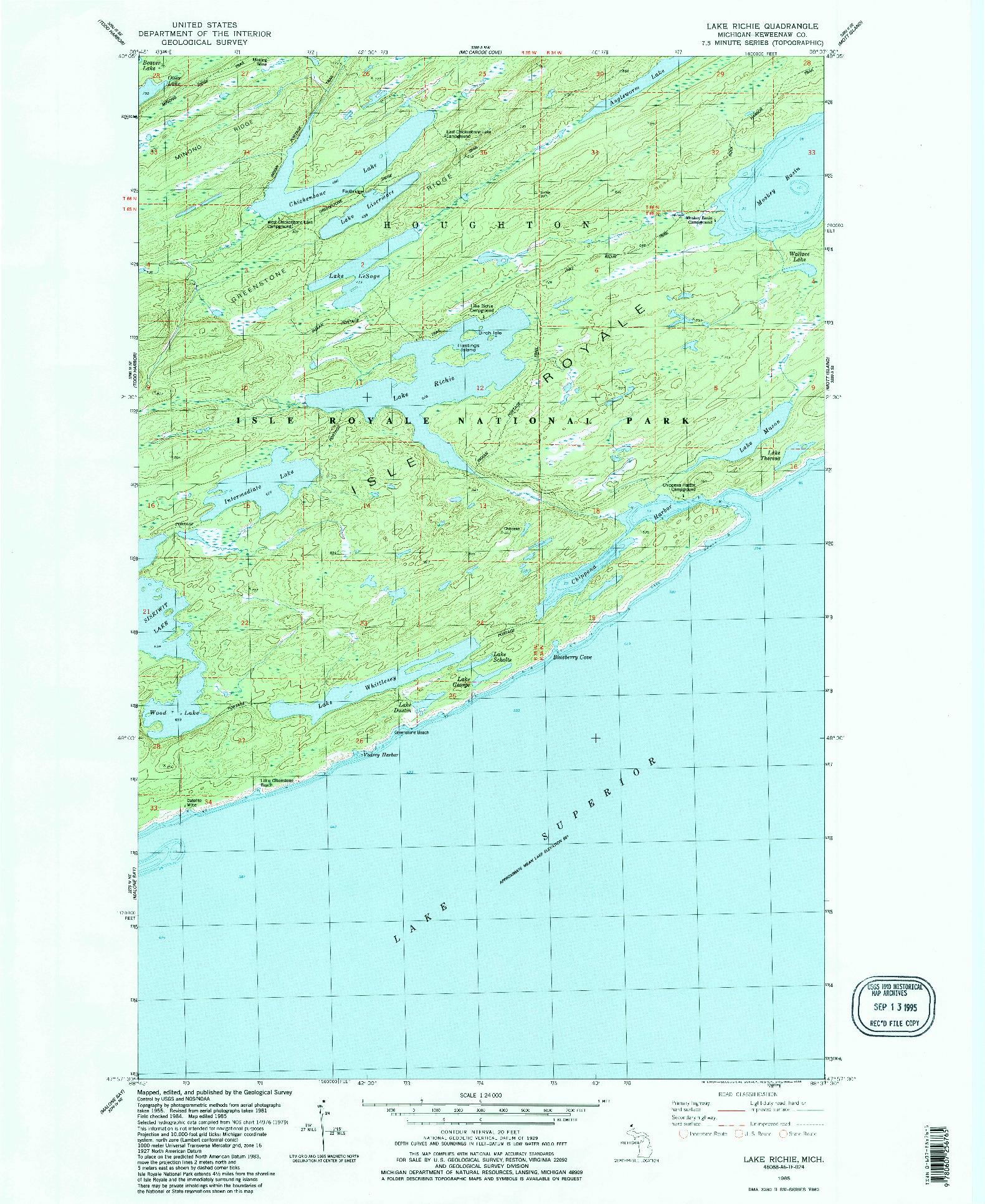 USGS 1:24000-SCALE QUADRANGLE FOR LAKE RICHIE, MI 1985