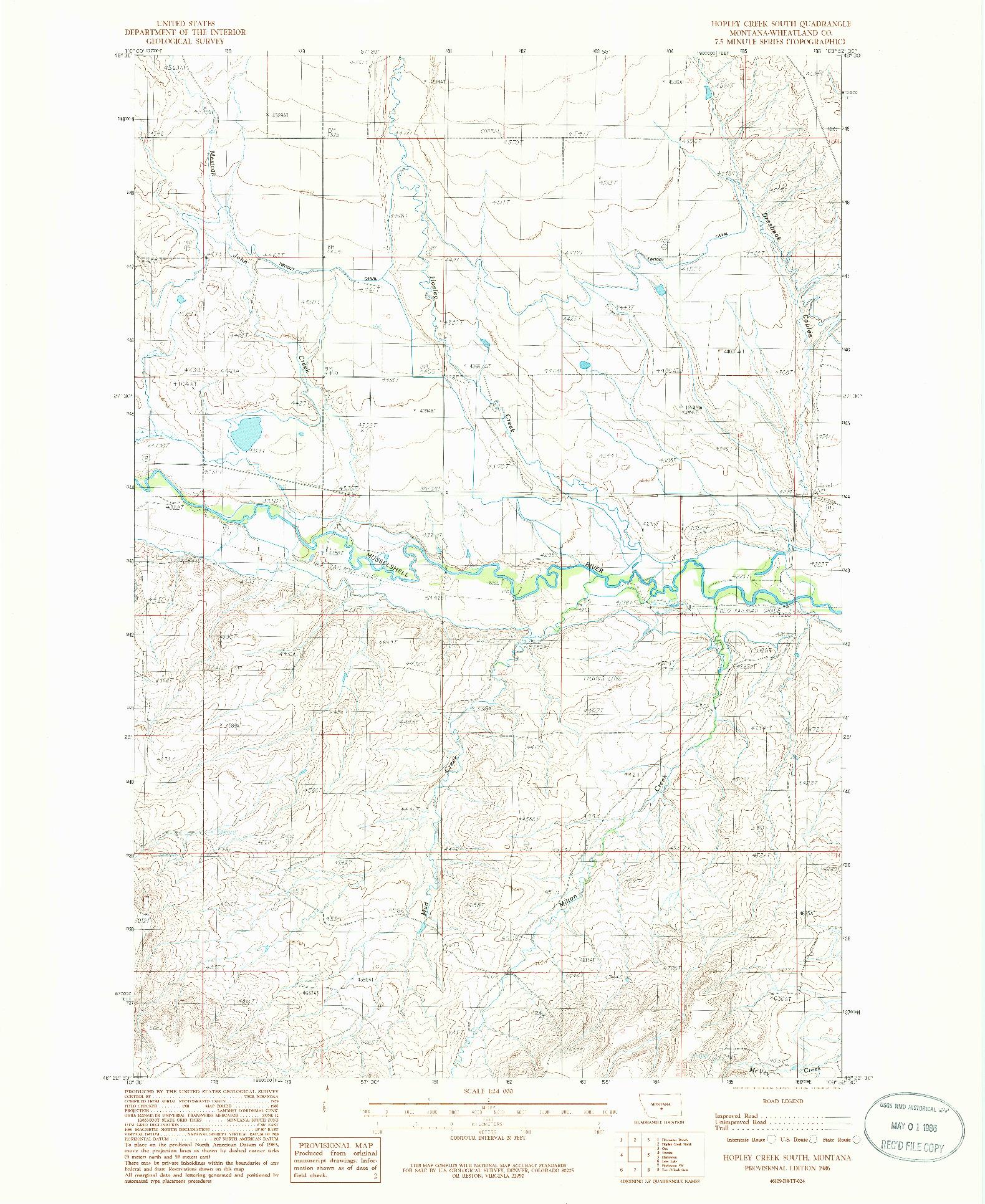 USGS 1:24000-SCALE QUADRANGLE FOR HOPLEY CREEK SOUTH, MT 1986