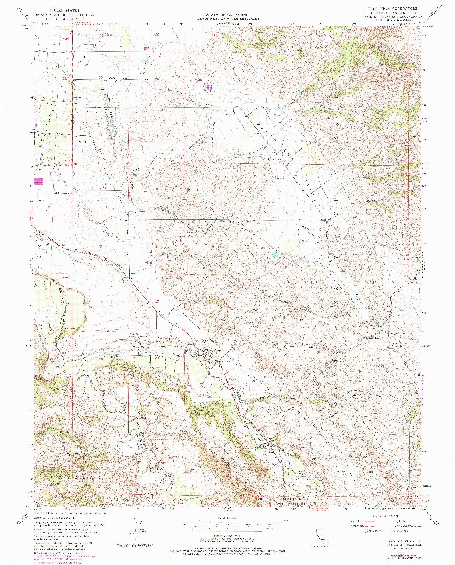 USGS 1:24000-SCALE QUADRANGLE FOR TRES PINOS, CA 1955