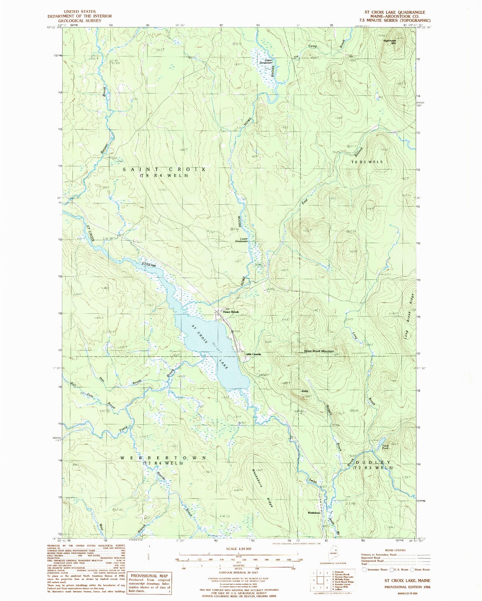 USGS 1:24000-SCALE QUADRANGLE FOR ST. CROIX LAKE, ME 1986