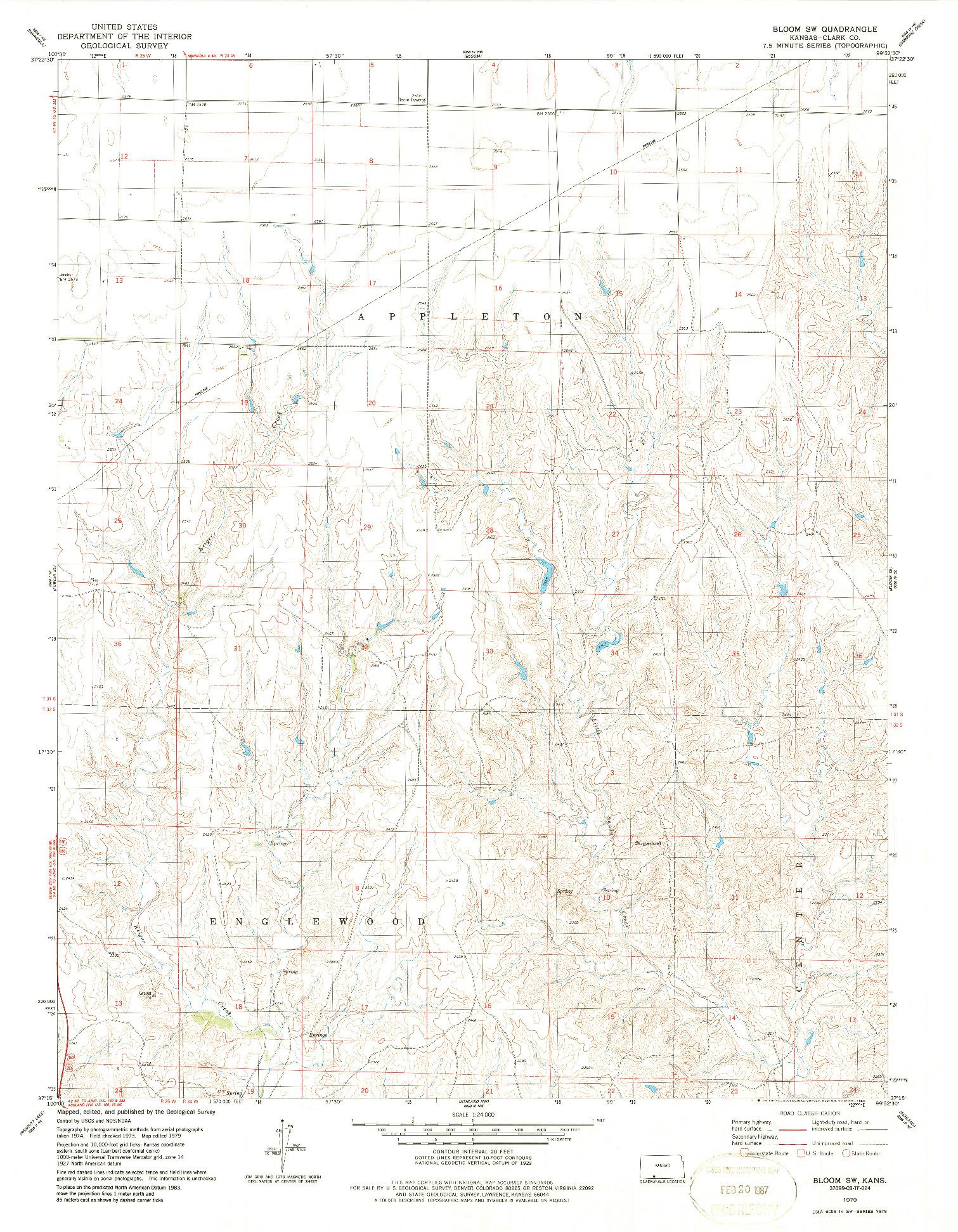 USGS 1:24000-SCALE QUADRANGLE FOR BLOOM SW, KS 1979