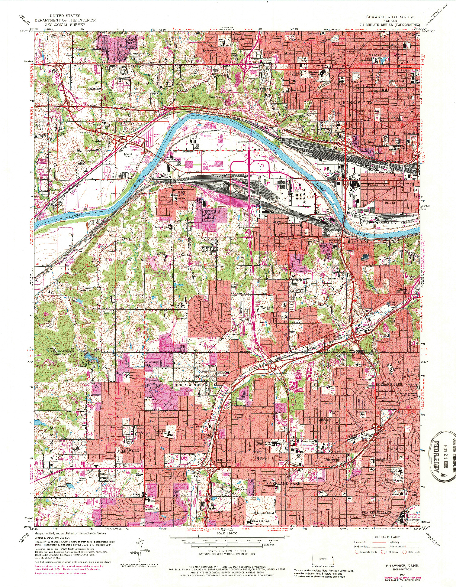 USGS 1:24000-SCALE QUADRANGLE FOR SHAWNEE, KS 1964