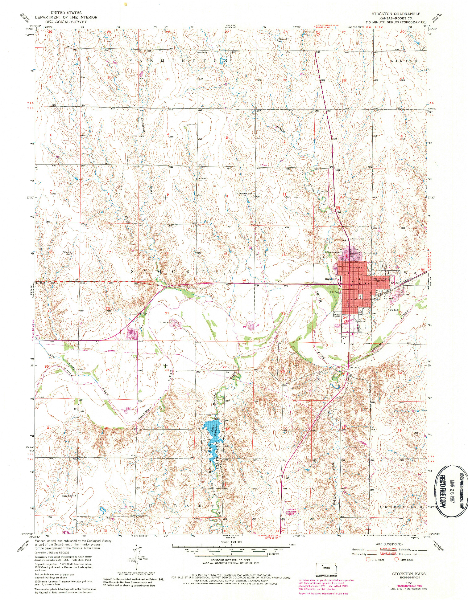 USGS 1:24000-SCALE QUADRANGLE FOR STOCKTON, KS 1953