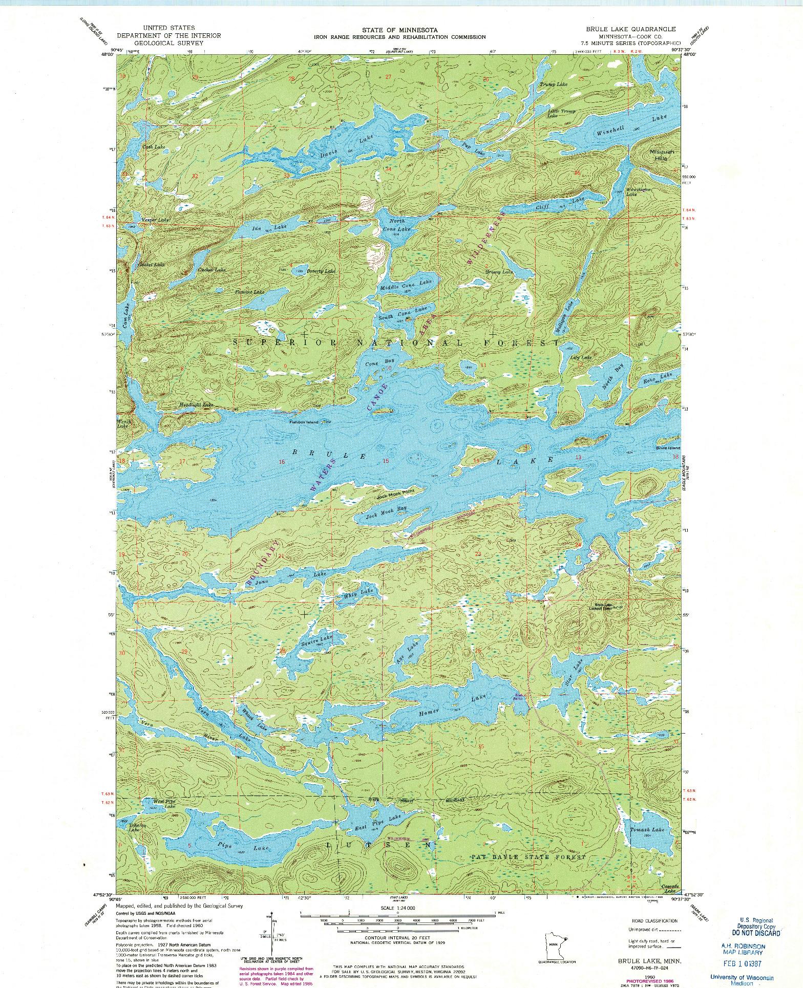 USGS 1:24000-SCALE QUADRANGLE FOR BRULE LAKE, MN 1960