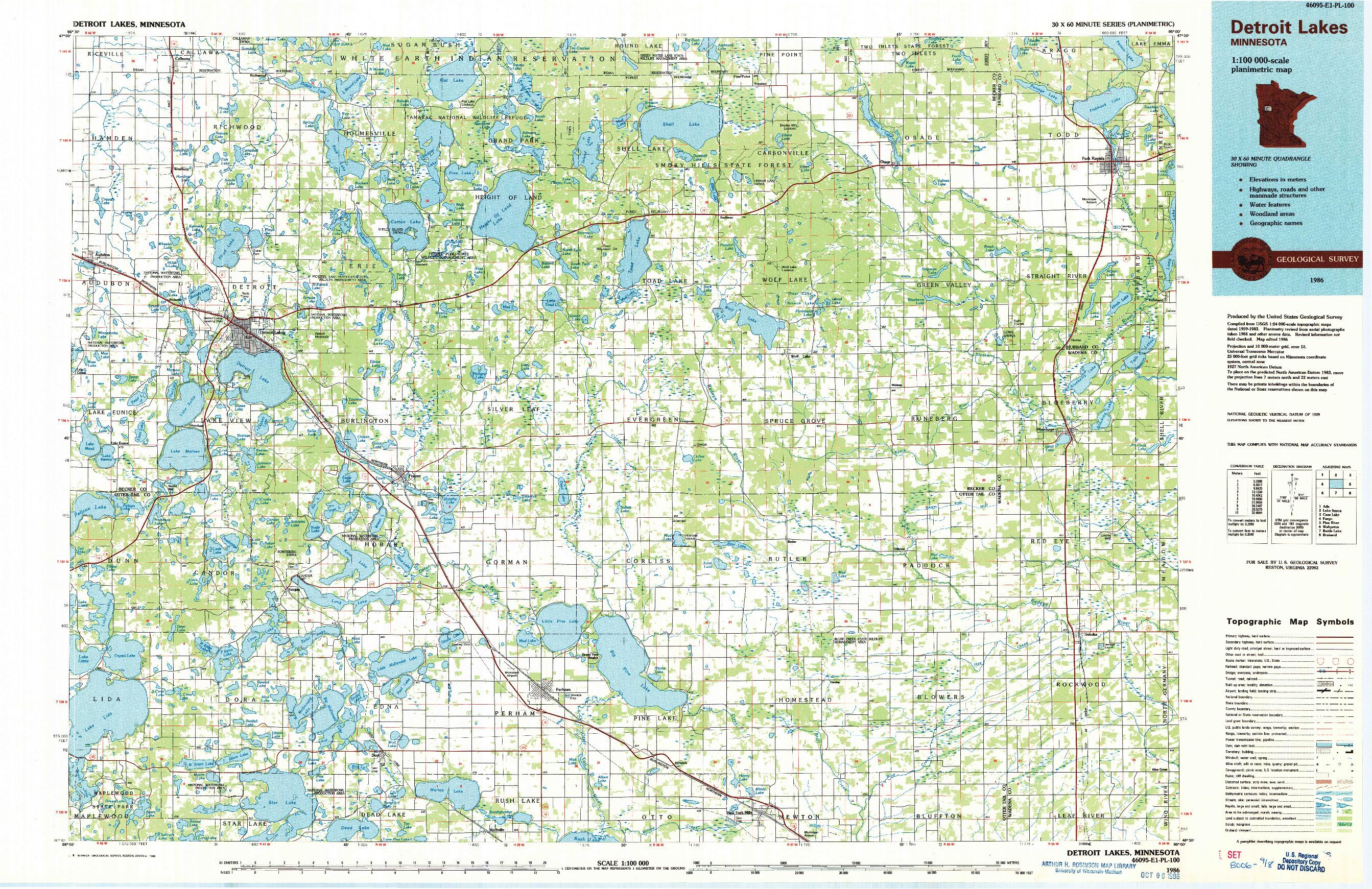 USGS 1:100000-SCALE QUADRANGLE FOR DETROIT LAKES, MN 1986