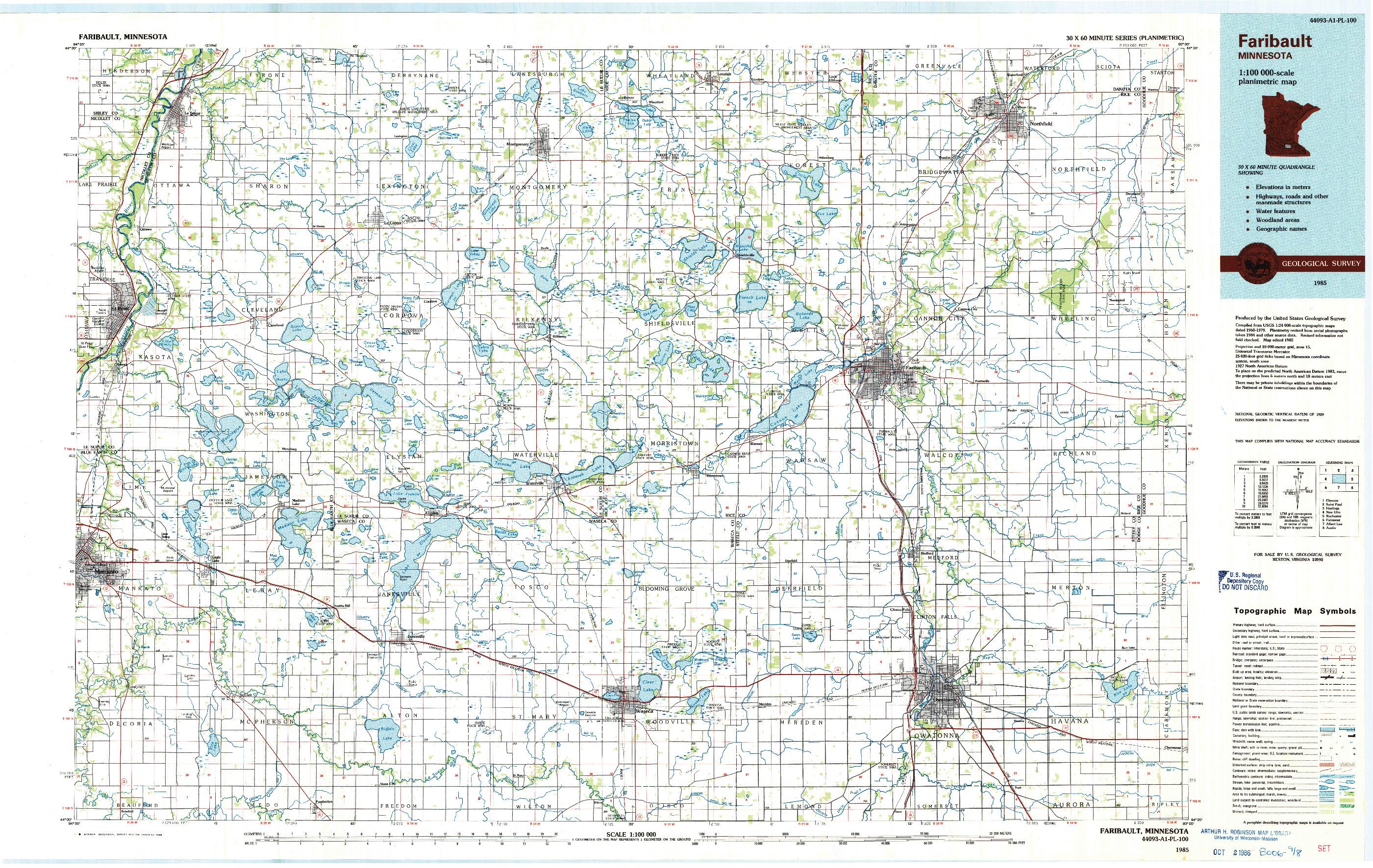 USGS 1:100000-SCALE QUADRANGLE FOR FARIBAULT, MN 1985